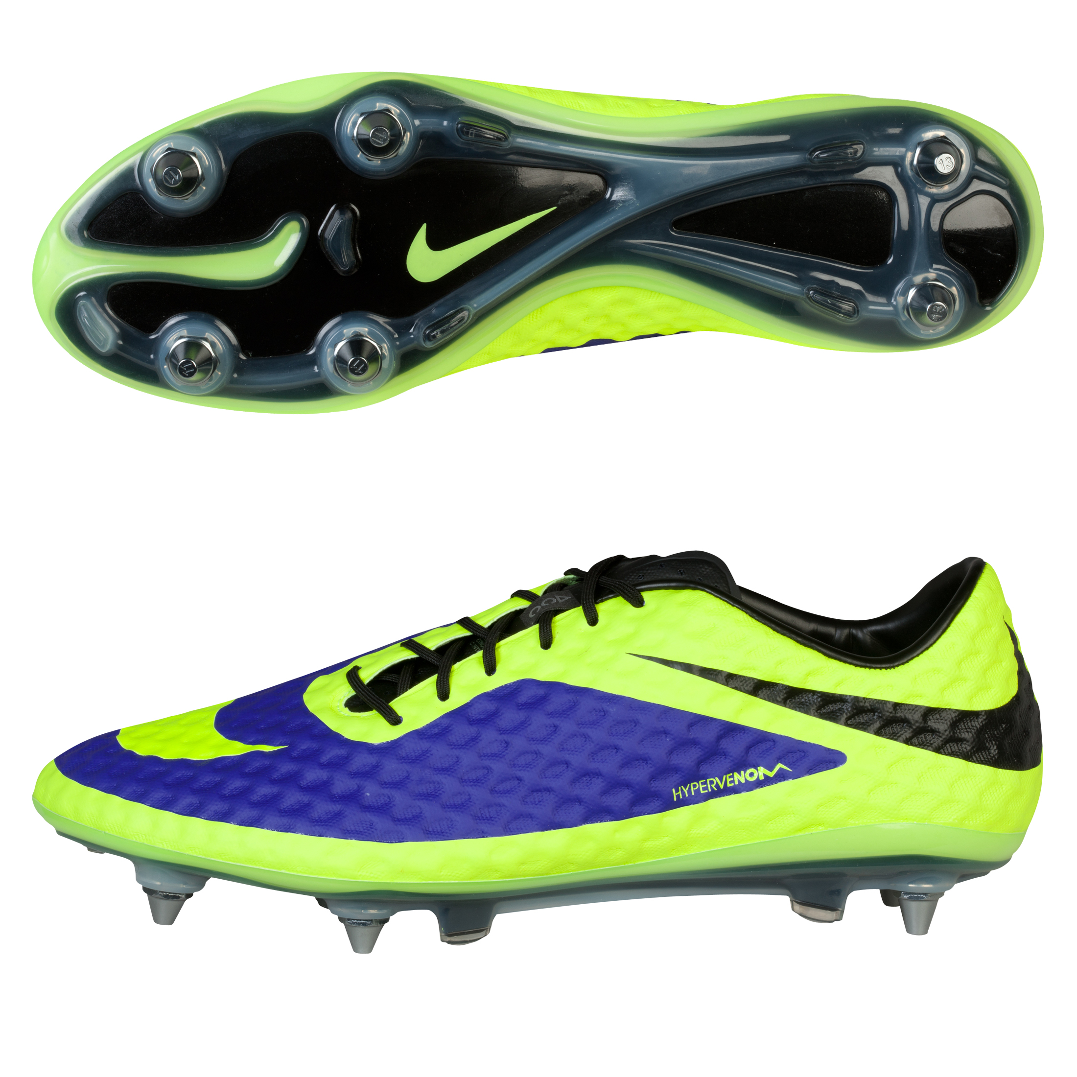 Nike Hypervenom Phantom Soft Ground-Pro Football Boots-Electro Purple/Volt/Black Purple