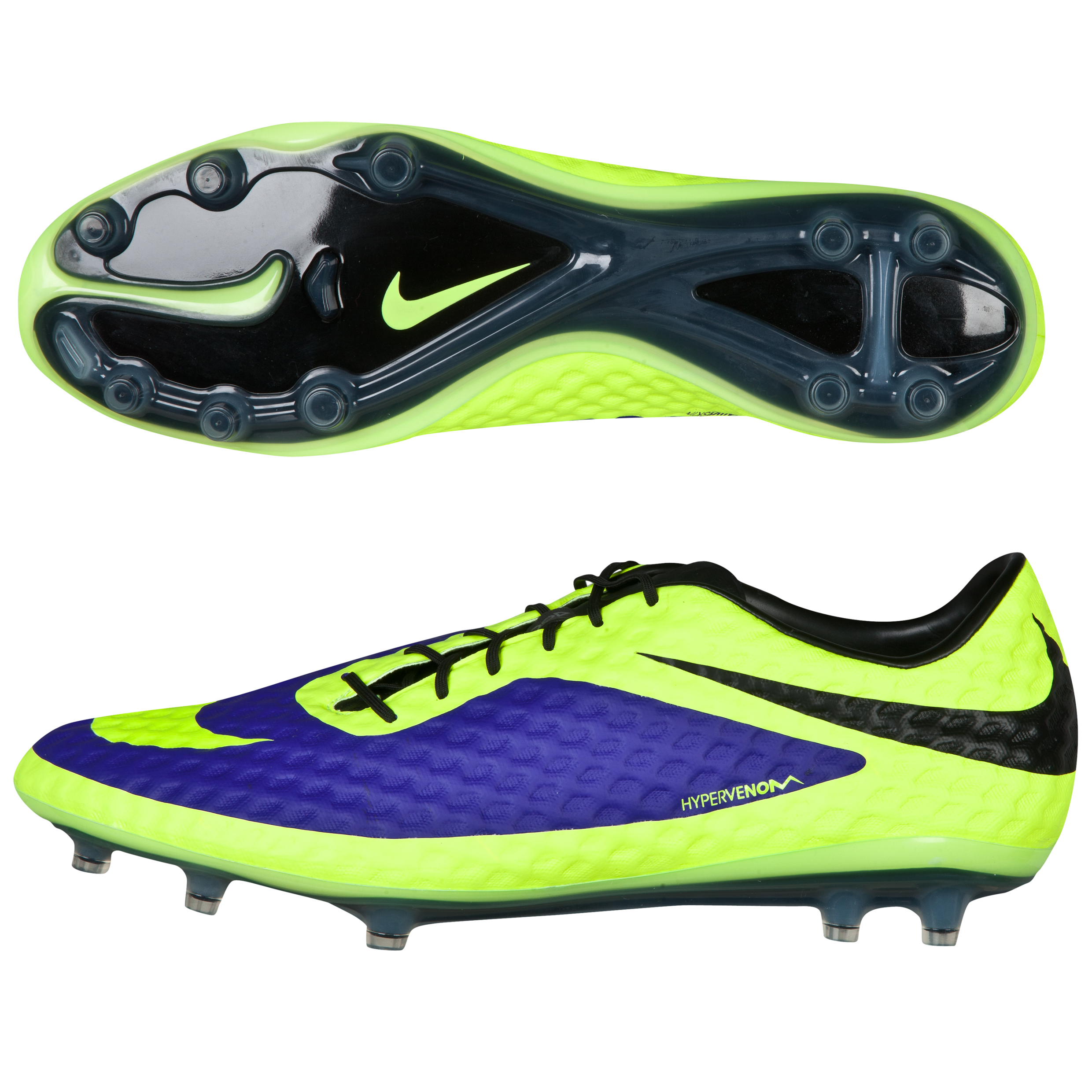 Nike Hypervenom Phantom Firm Ground Football Boots - Electro Purple/Volt/Black Purple