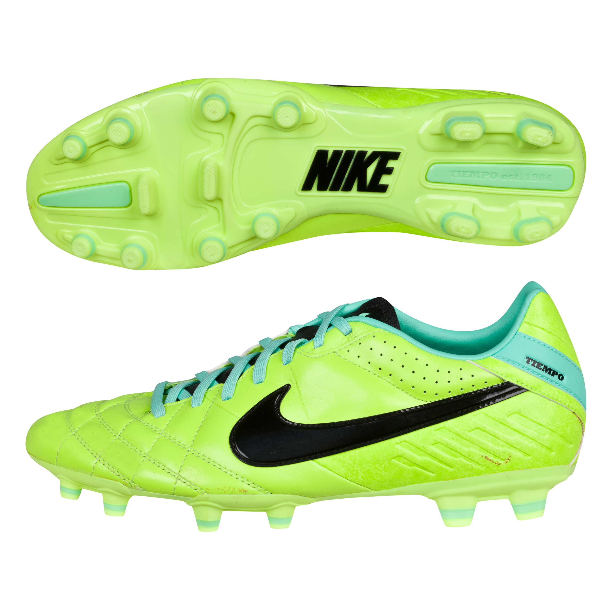 Nike Tiempo Mystic Iv Firm Ground Football Boots- Volt/Black/Green Glow Lt Green