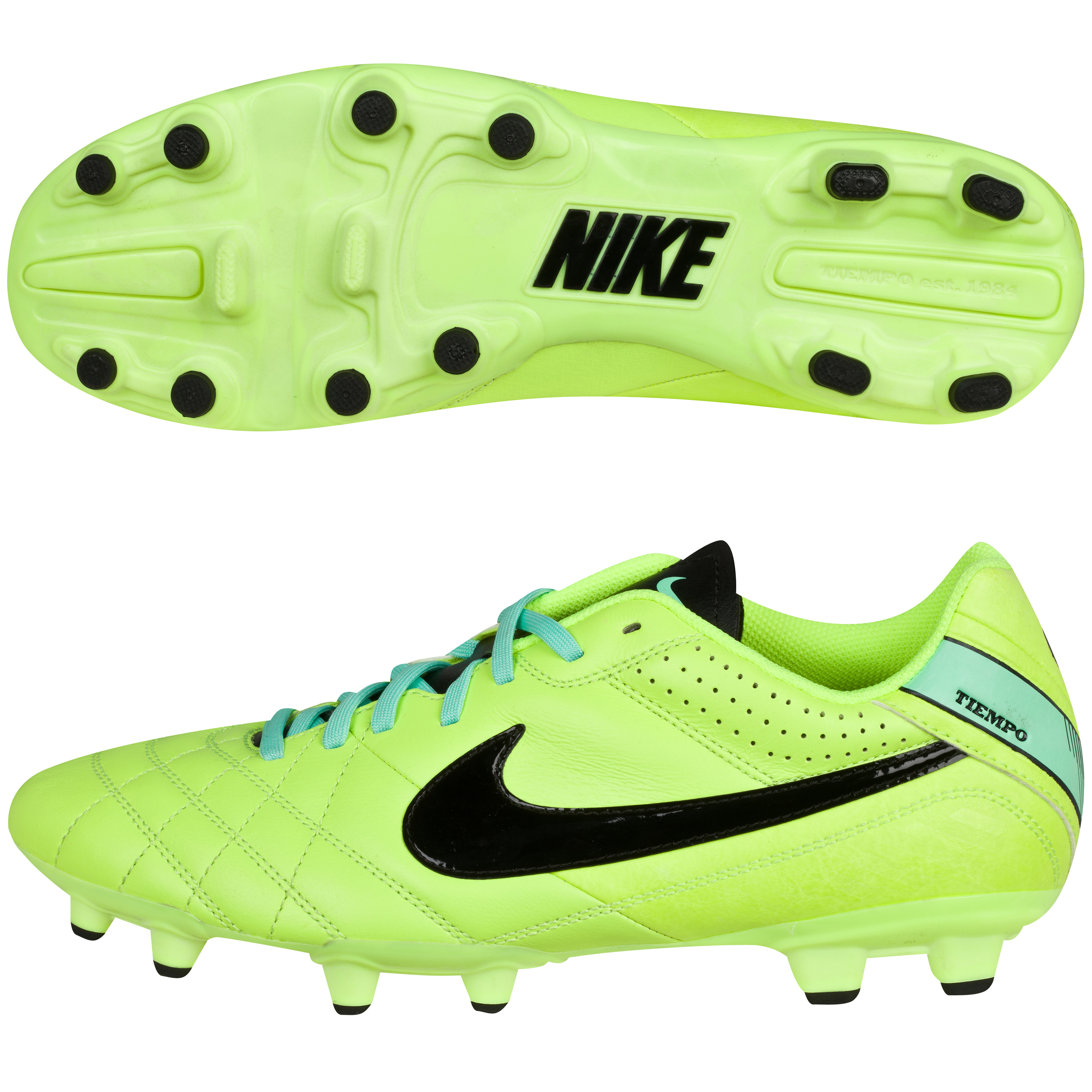 Nike Tiempo Natural Iv Firm Ground Football Boots-Volt/Black/Green Glow Lt Green