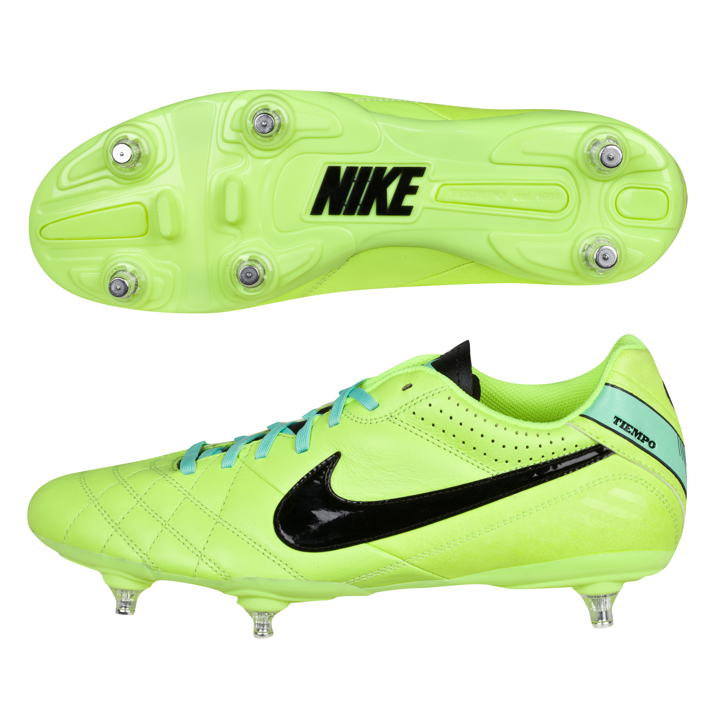 Nike Tiempo Natural Iv Soft Ground Football Boots -Volt/Black/Green Glow Lt Green