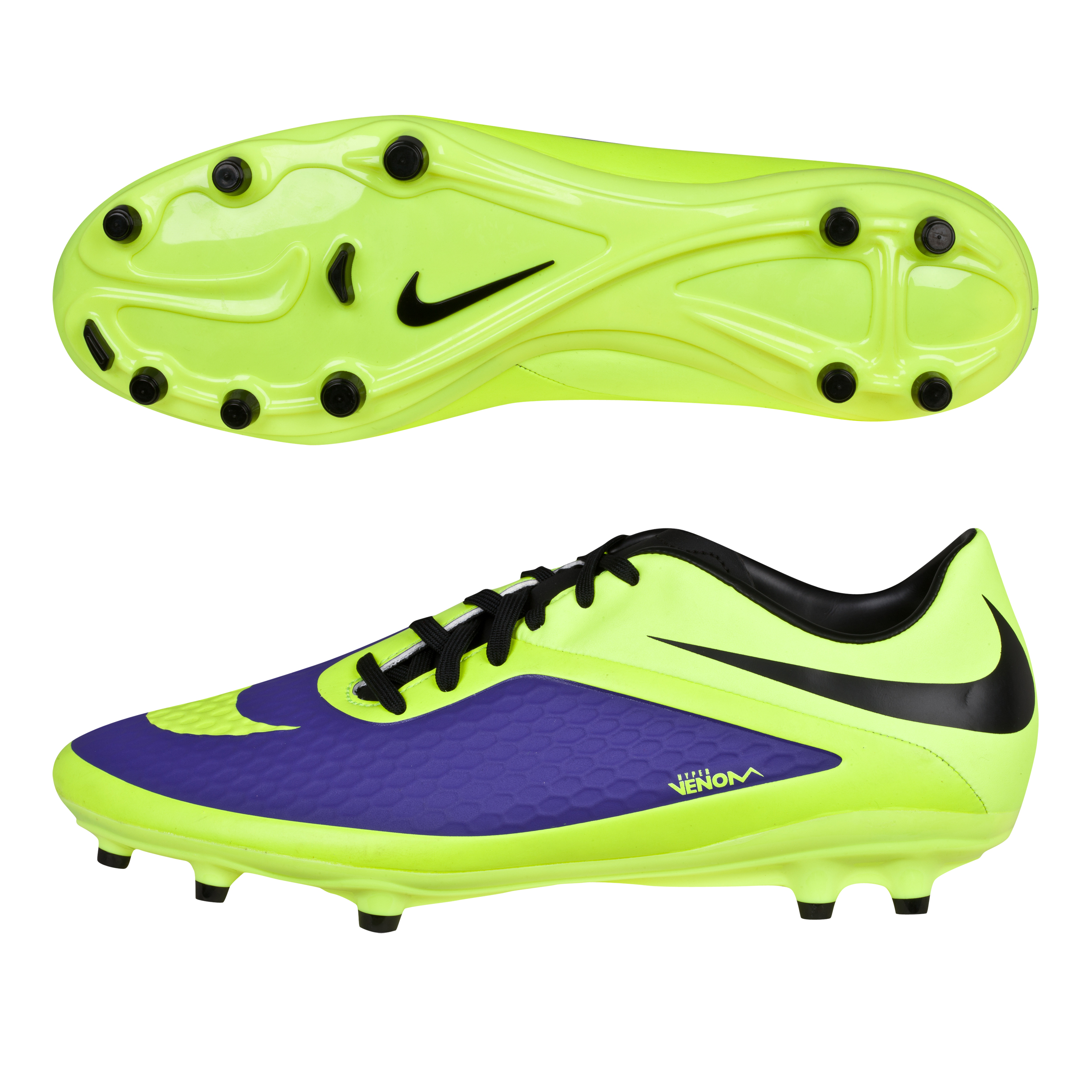 Nike Hypervenom Phelon Firm Ground Football Boots -Electro Purple/Volt/Black Purple