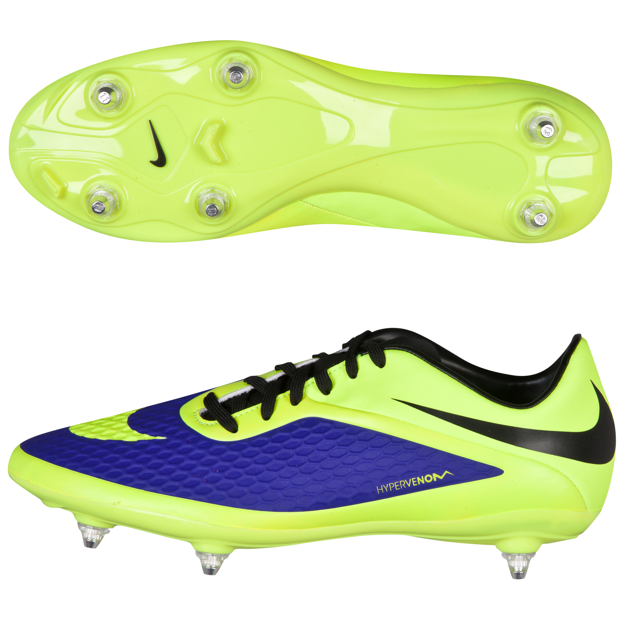 Nike Hypervenom Phelon Soft Ground Football Boots -Electro Purple/Volt/Black Purple