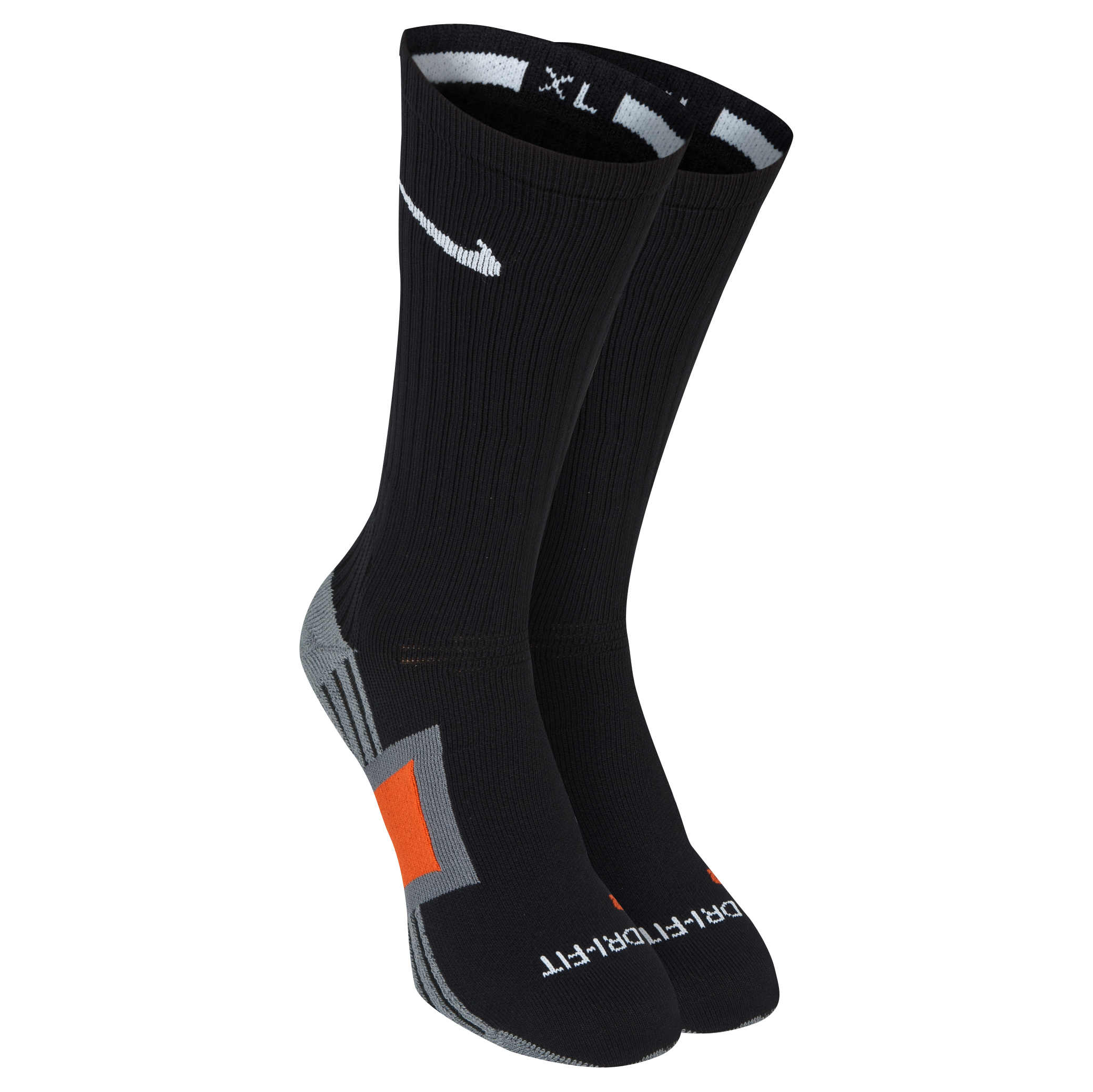 Nike Dri Fit Channel Cushioning Practice Sock-Black/Carbon Heather/Flint Grey/Deep Orange Black