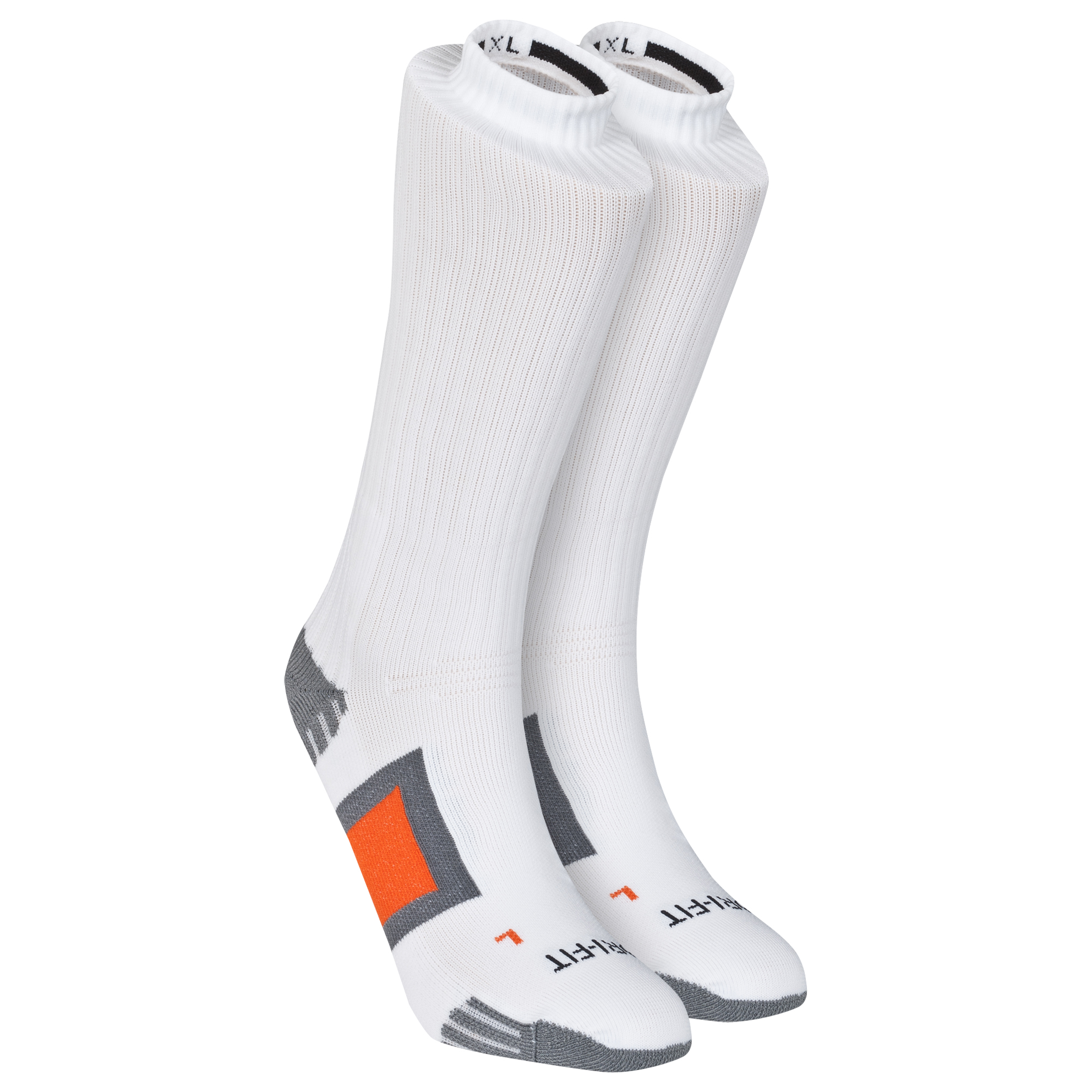 Nike DriFit Channel Cushioning Practice Sock - White/Carbon Heather/Flint Grey/Deep Orange White
