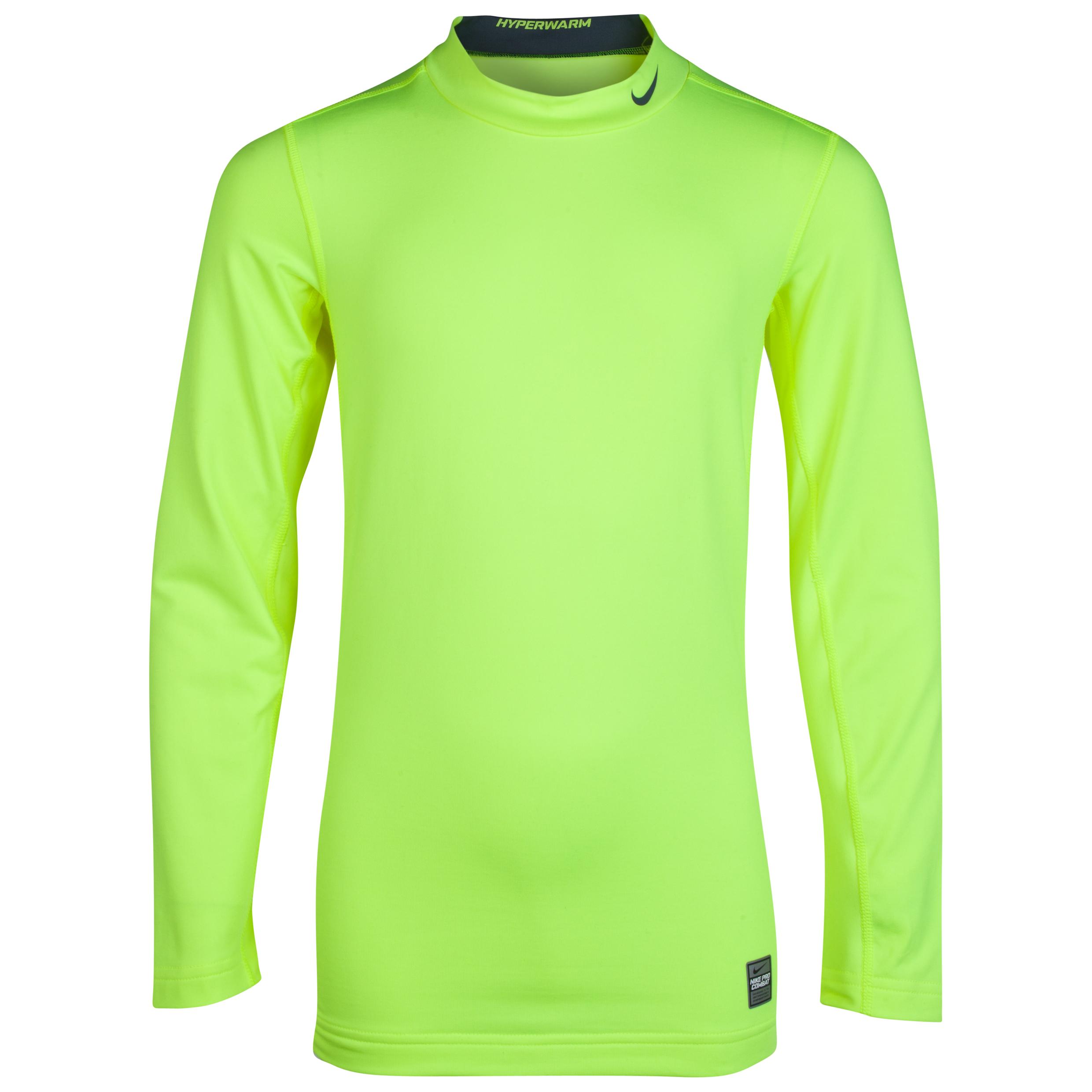 Nike Pro Combat Hyperwarm Comp Mock - Long Sleeve- Volt/Armory Slate/Armory Slate Lt Green