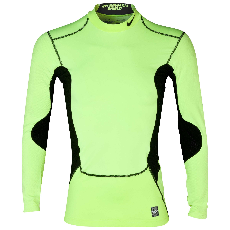 Nike Hyperwarm DriFit Max Shld Comp Mck - Volt/Black/Black Lt Green
