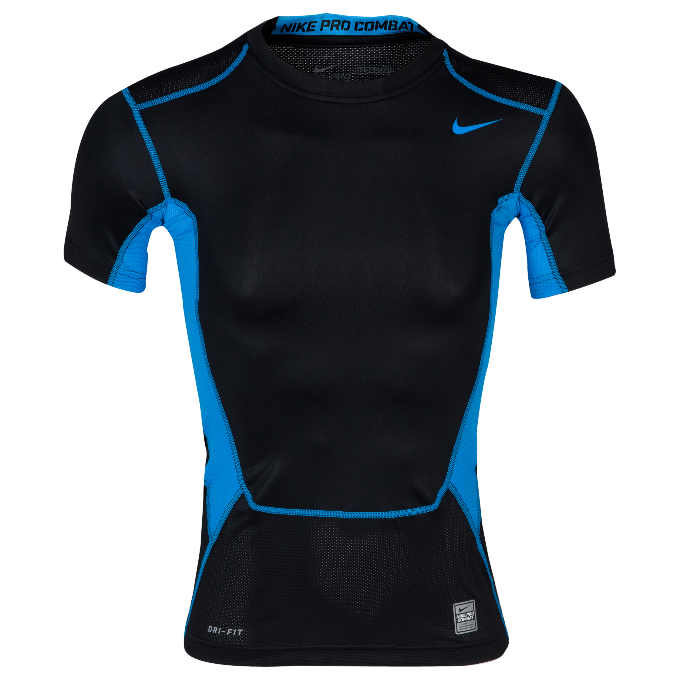Nike Pro Combat Hypercool 1.2 Base Layer Top - Black/Blue Hero/Blue Hero Black