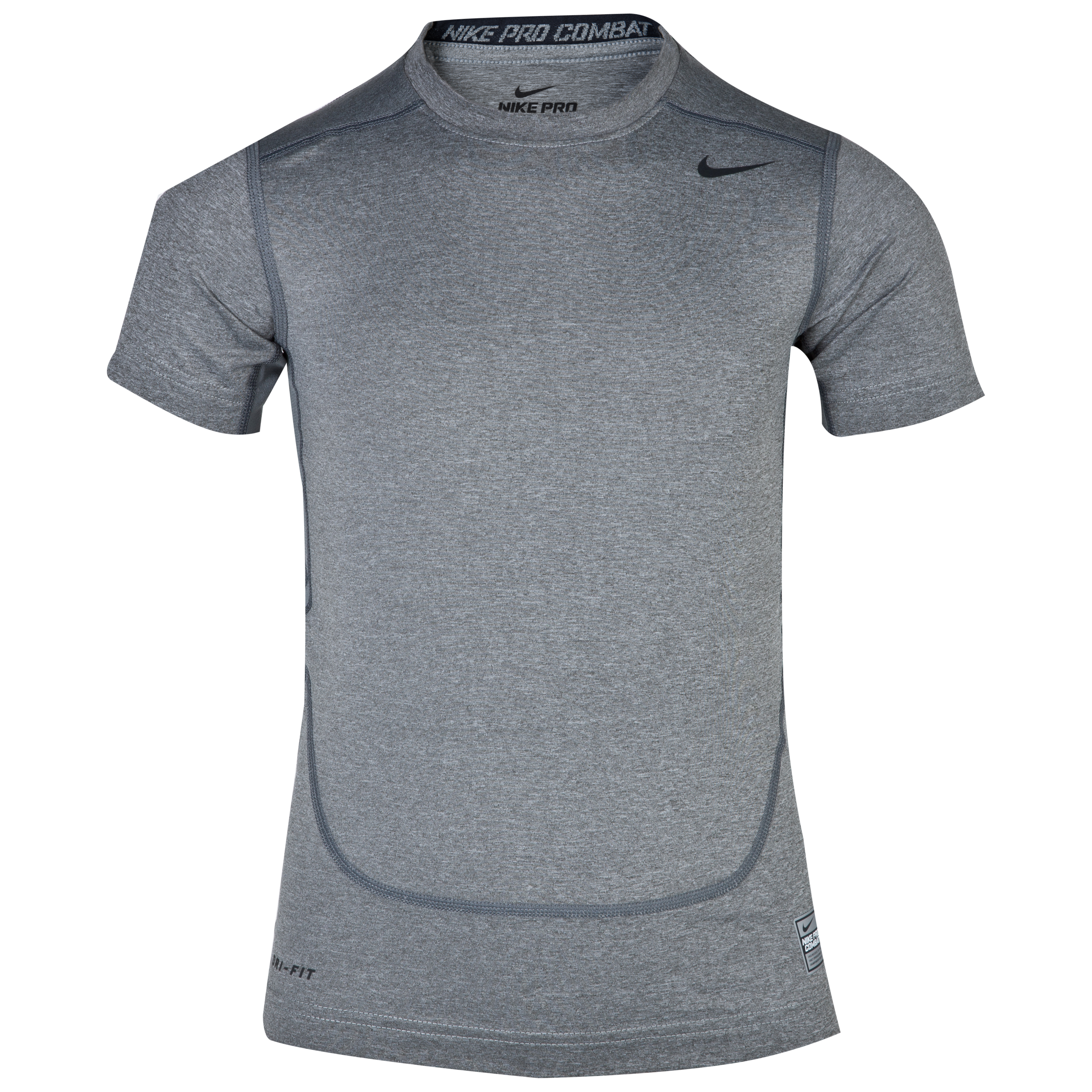 Nike Pro Combat Core Base Layer Top - Kids - Carbon Heather/Black Grey