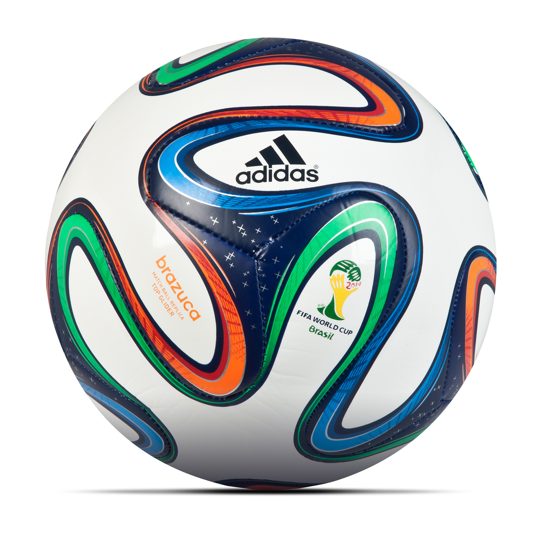 Adidas Brazuca Top Glider Football - White/Night Blue/Multi White