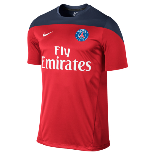 Paris Saint-Germain Squad Short Sleeve Training Top Red