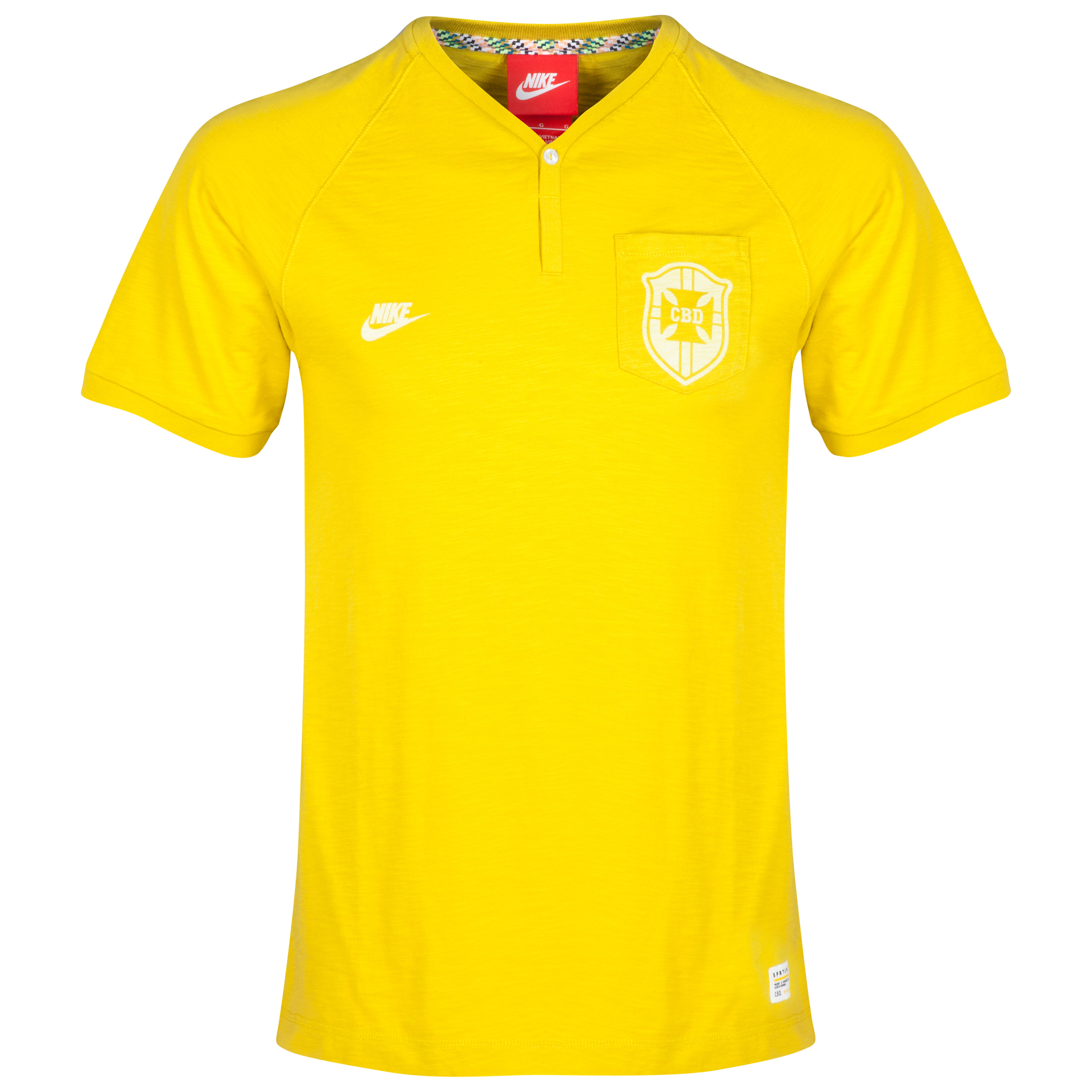 Brazil Covert Y Neck Henley Top Yellow
