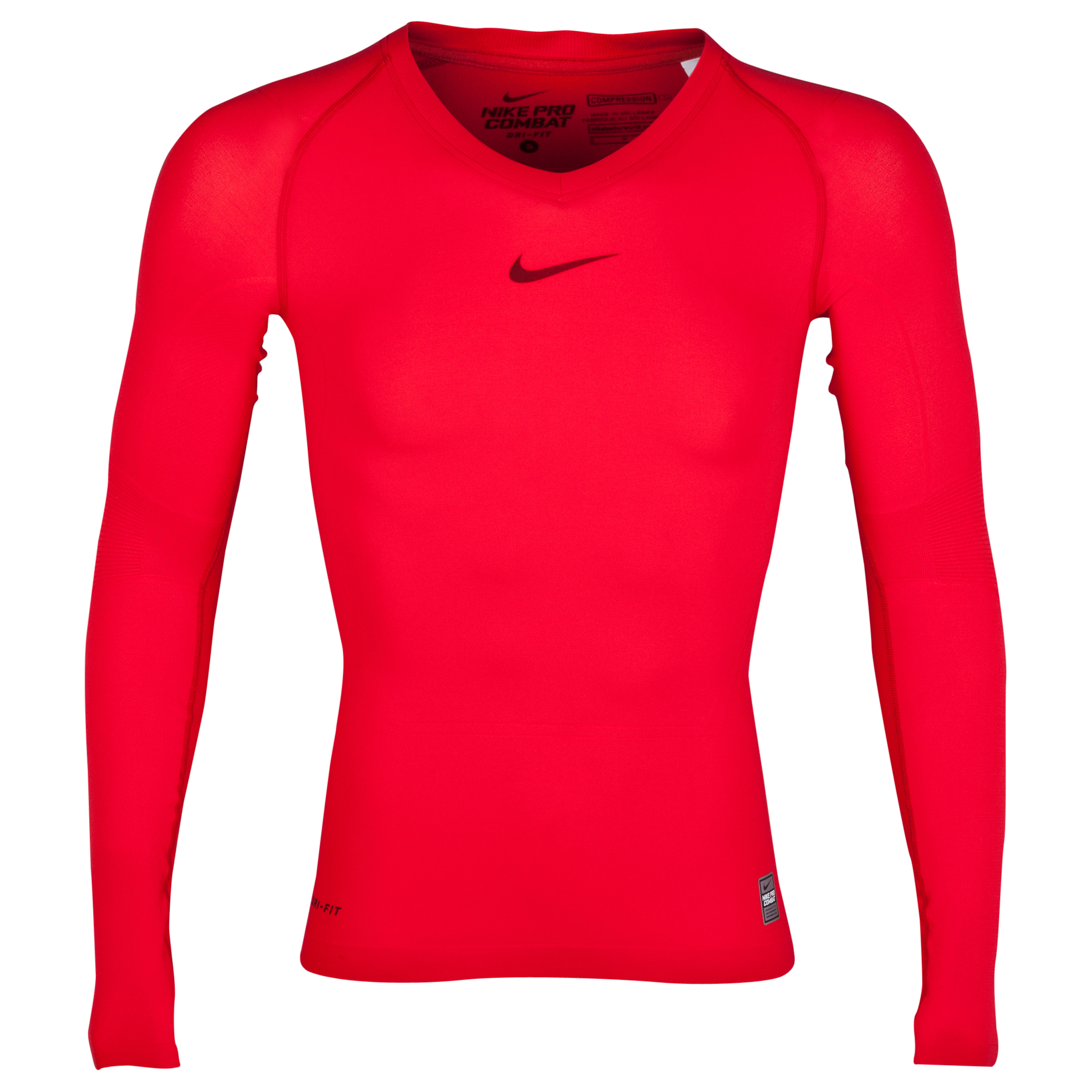 Nike Pro Combat Lightweight Seamless Base Layer Top - Long Sleeve Red