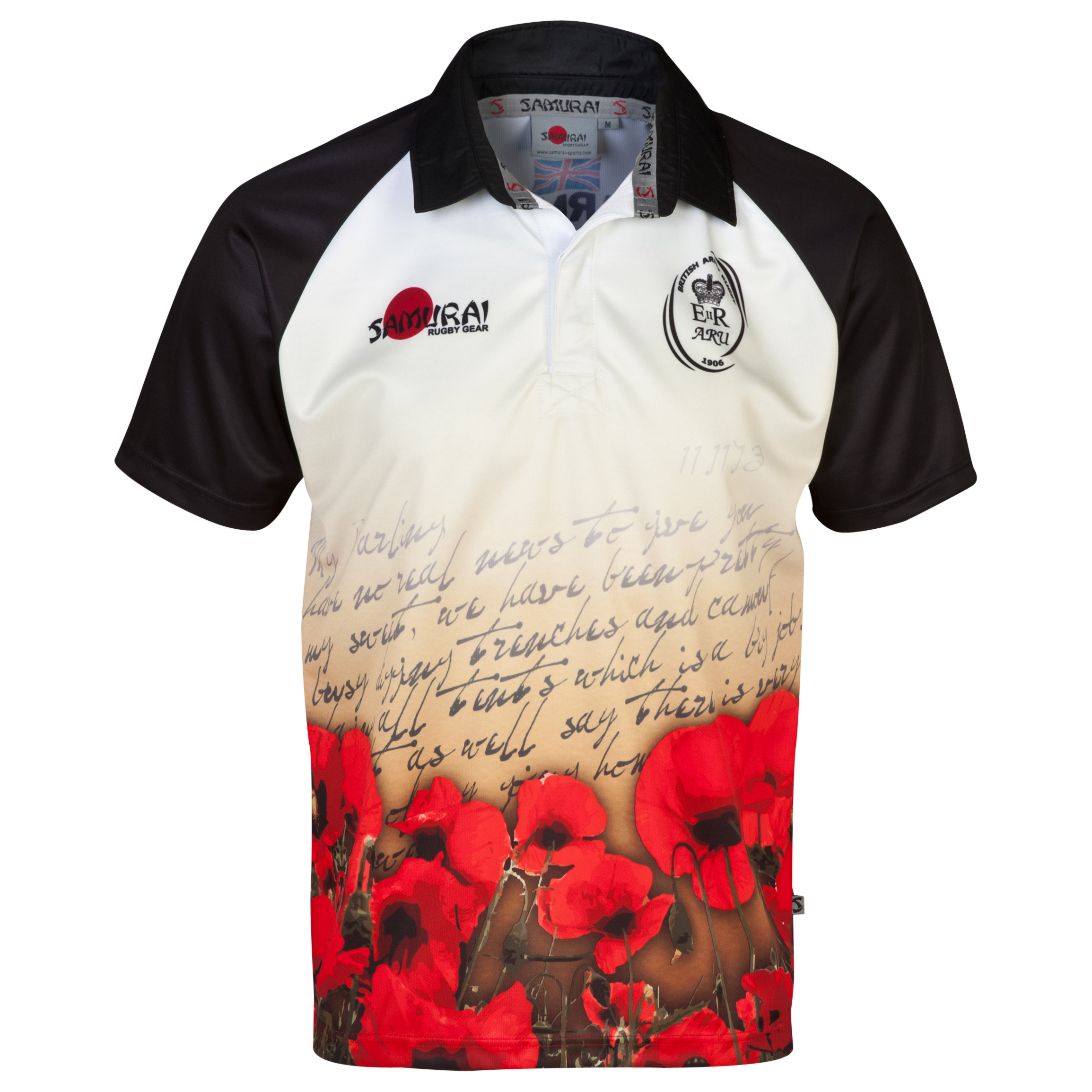 Army Rugby Union Letter Poppy Shirt 2014 - Black/White/Red Black