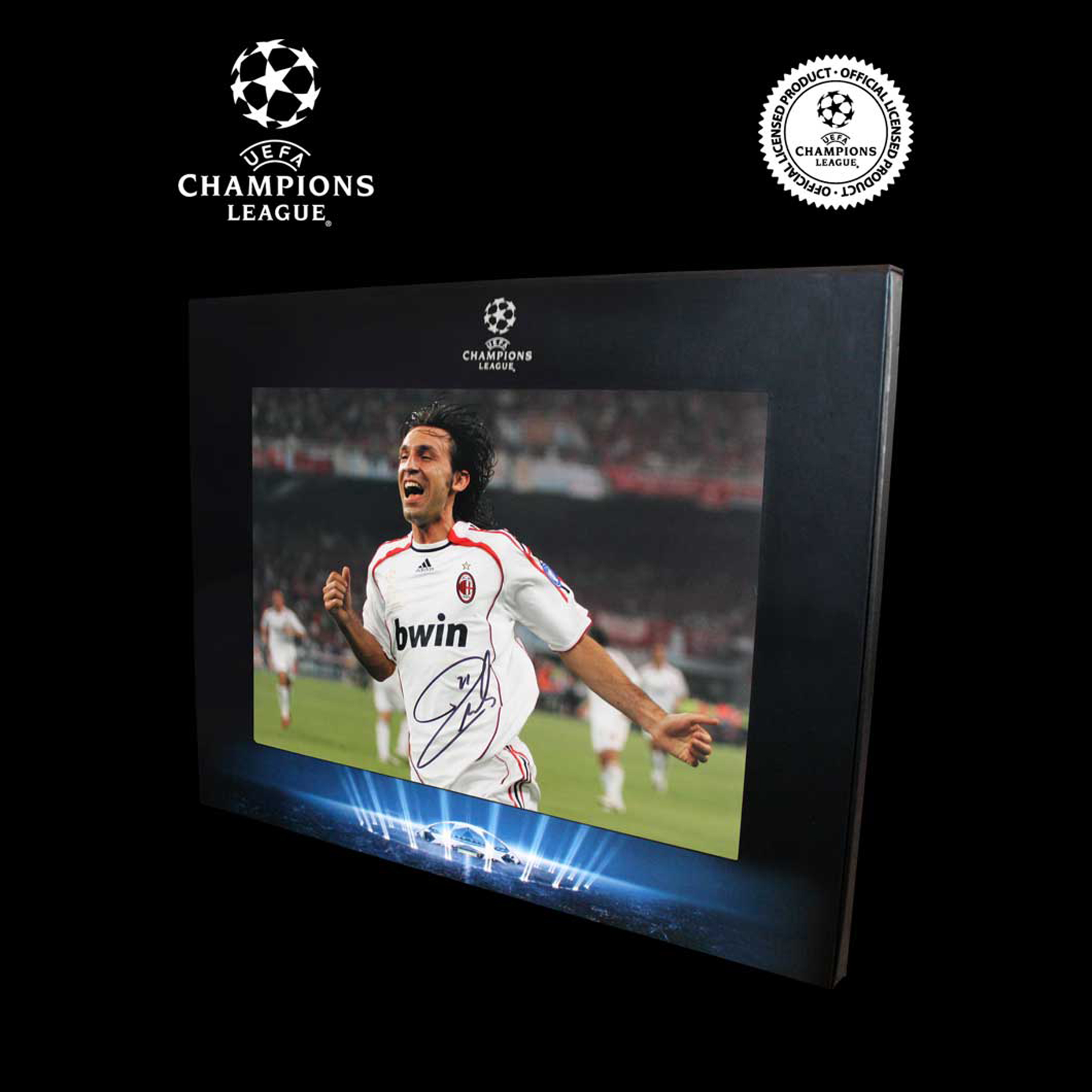 UEFA Champions League Andrea Pirlo Signed AC Milan Photo in Deluxe Packaging