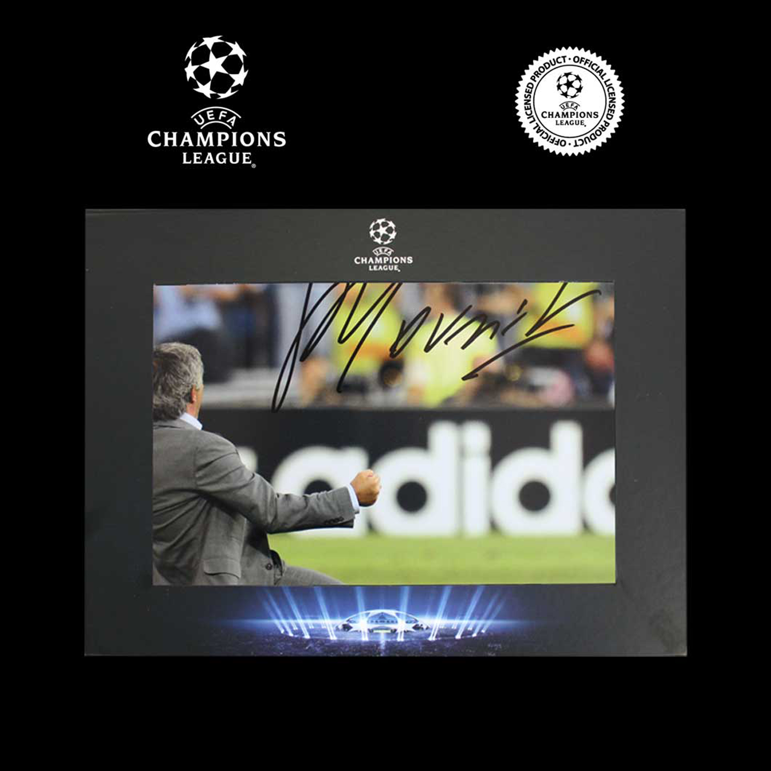 UEFA Champions League Jose Mourinho Signed Madrid Photo in Deluxe Packaging: Celebration