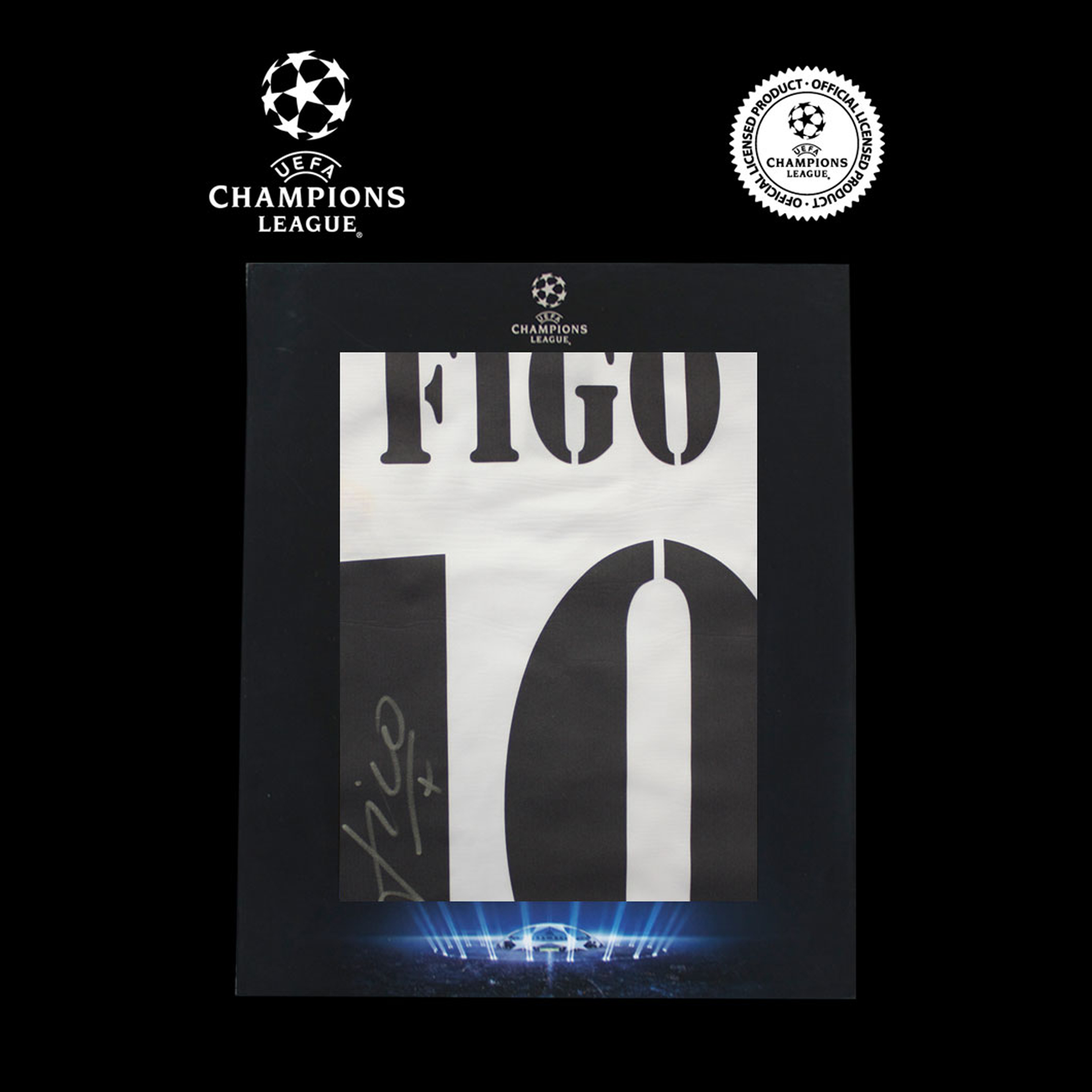 UEFA Champions League Luis Figo Signed 2004-05 Real Madrid Home Shirt in Deluxe Packaging