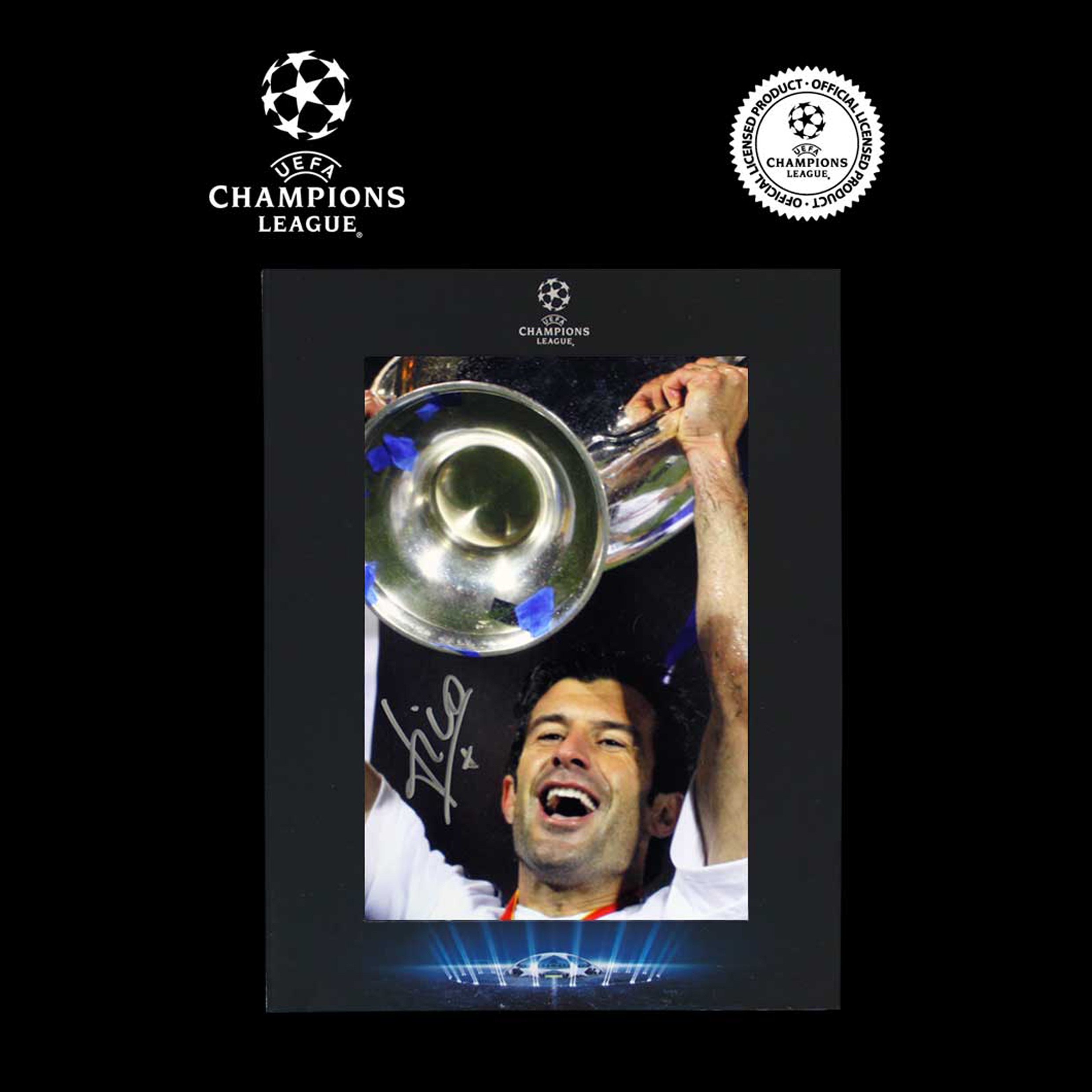UEFA Champions League Luis Figo Signed Real Madrid Photo in Deluxe Packaging: 2001-02 Winners