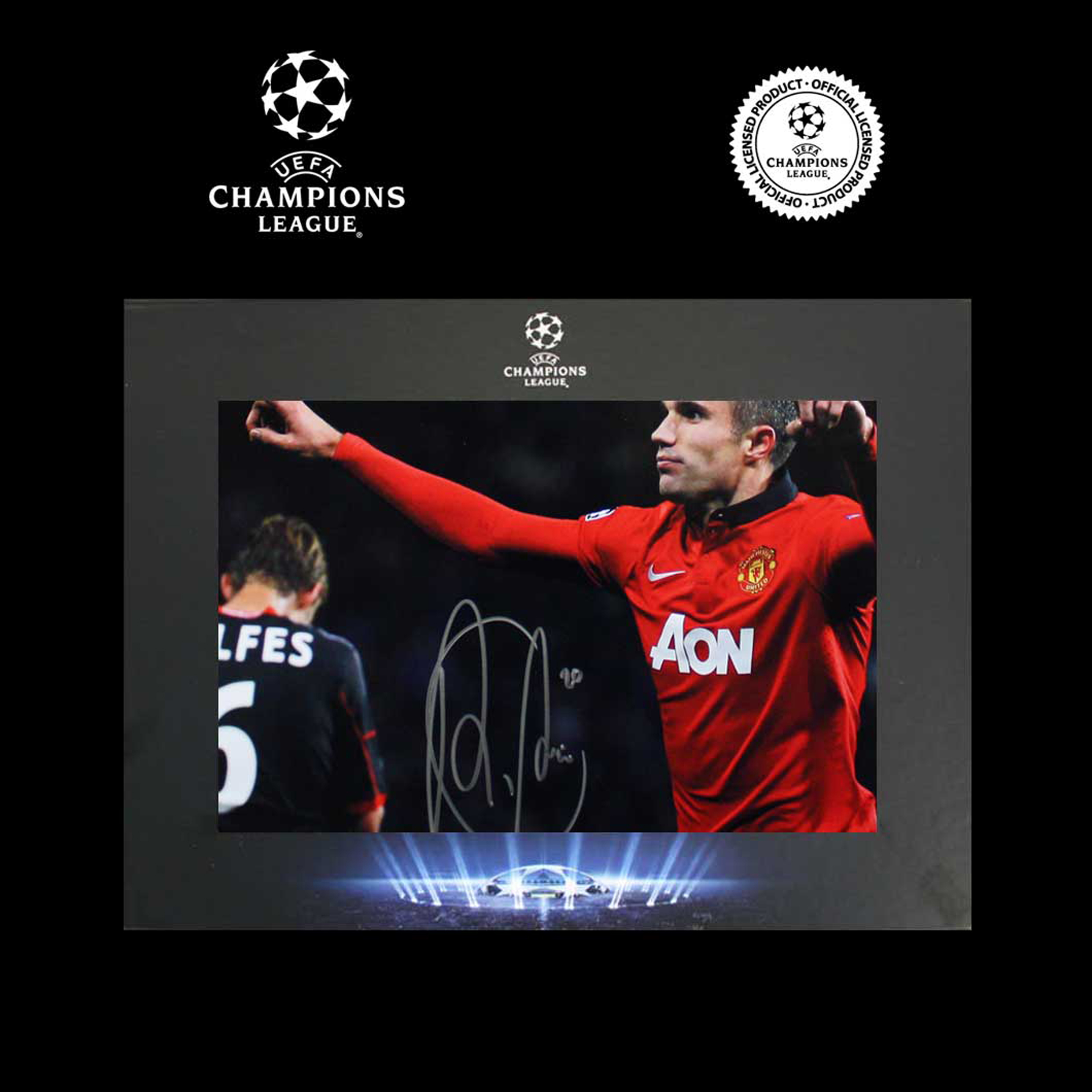 UEFA Champions League Robin Van Persie Signed Man. Utd Photo in Deluxe Packaging: Bayer Leverkusen Goal