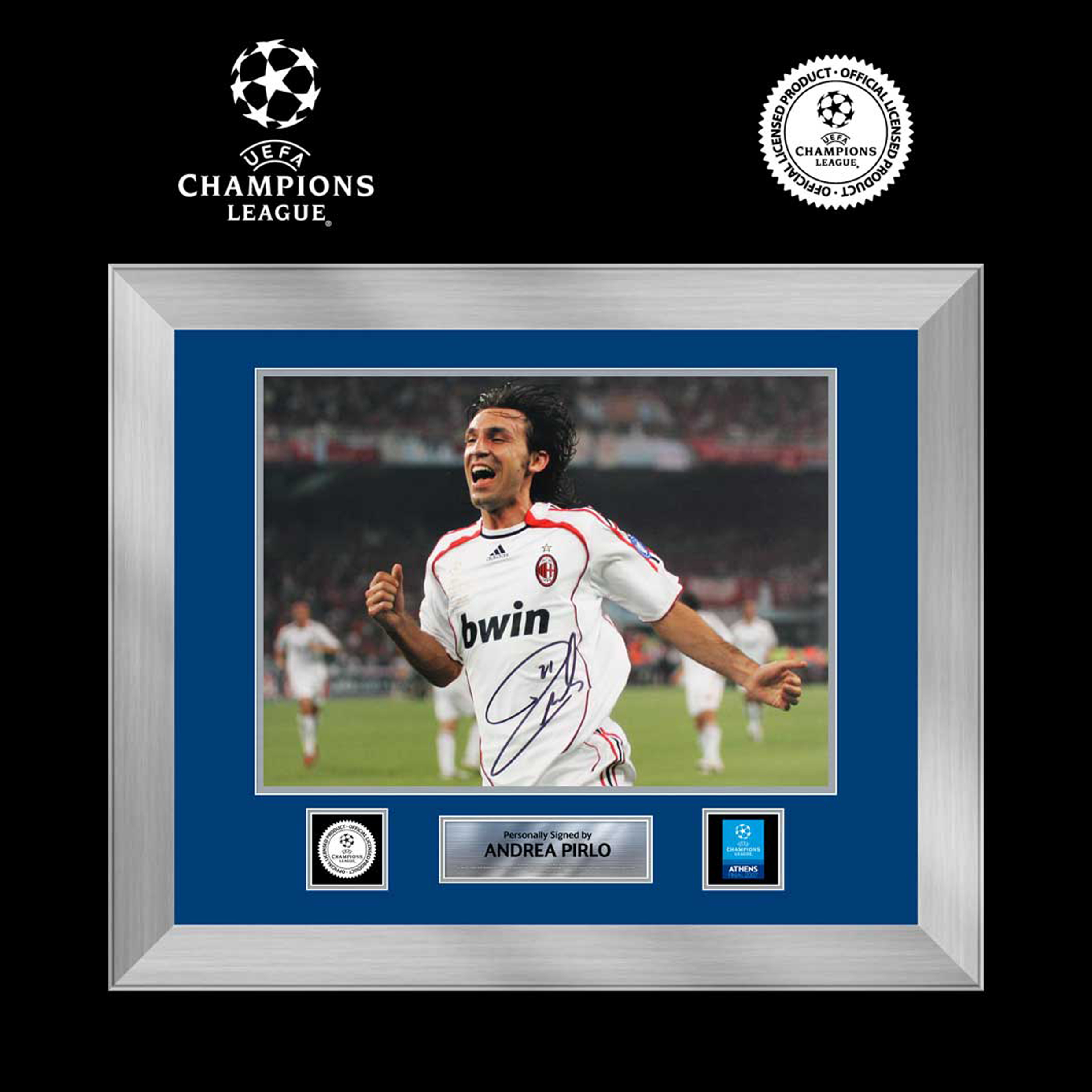 UEFA Champions League Andrea Pirlo Signed and Framed AC Milan Photo: 2007 Final