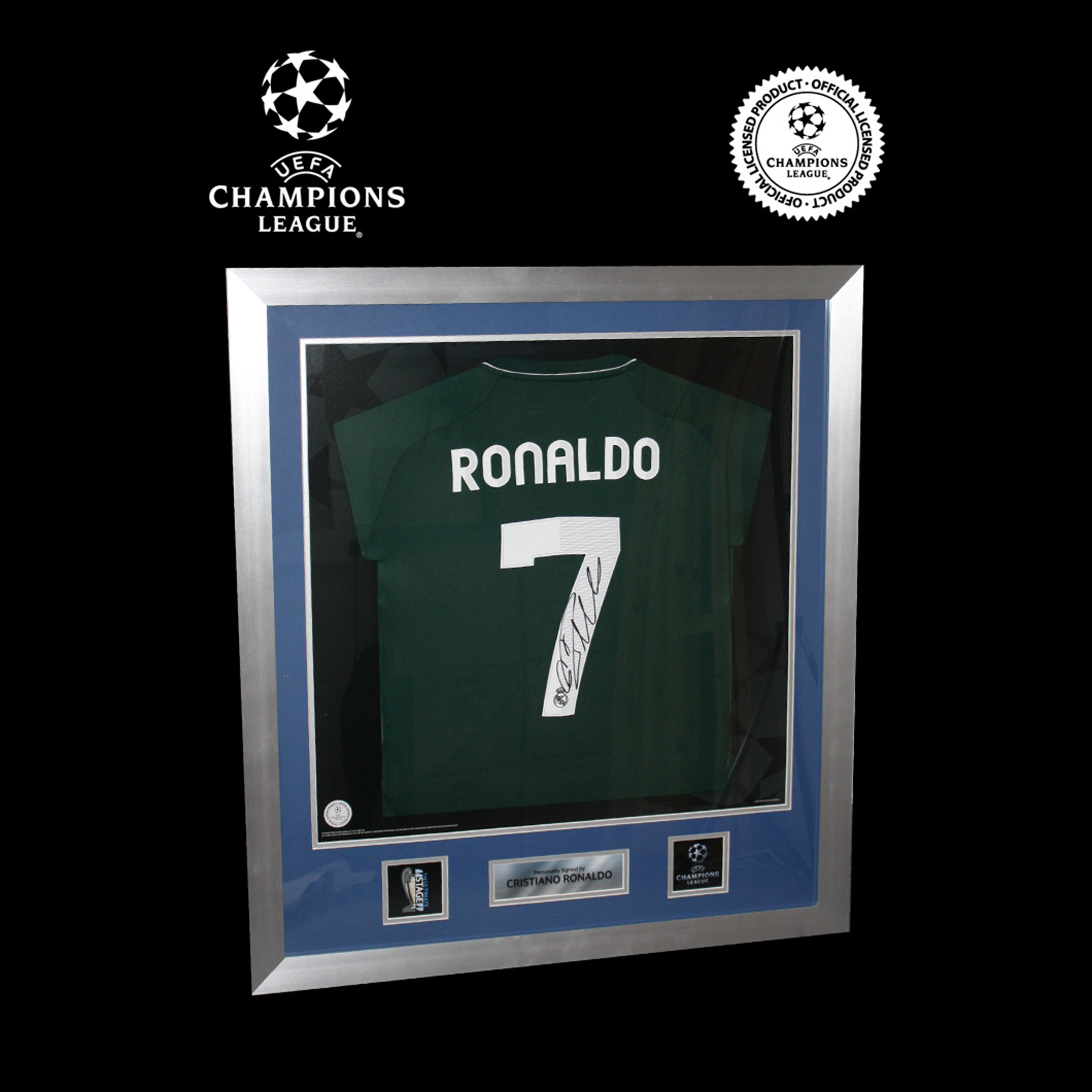UEFA Champions League Cristiano Ronaldo Signed and Framed Real Madrid Away Shirt