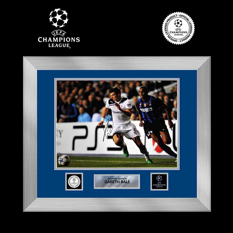 UEFA Liga de Campeones fotografía firmada de Gareth Bale enmarcada en presentación de lujo: Spurs contra el Inter Milán