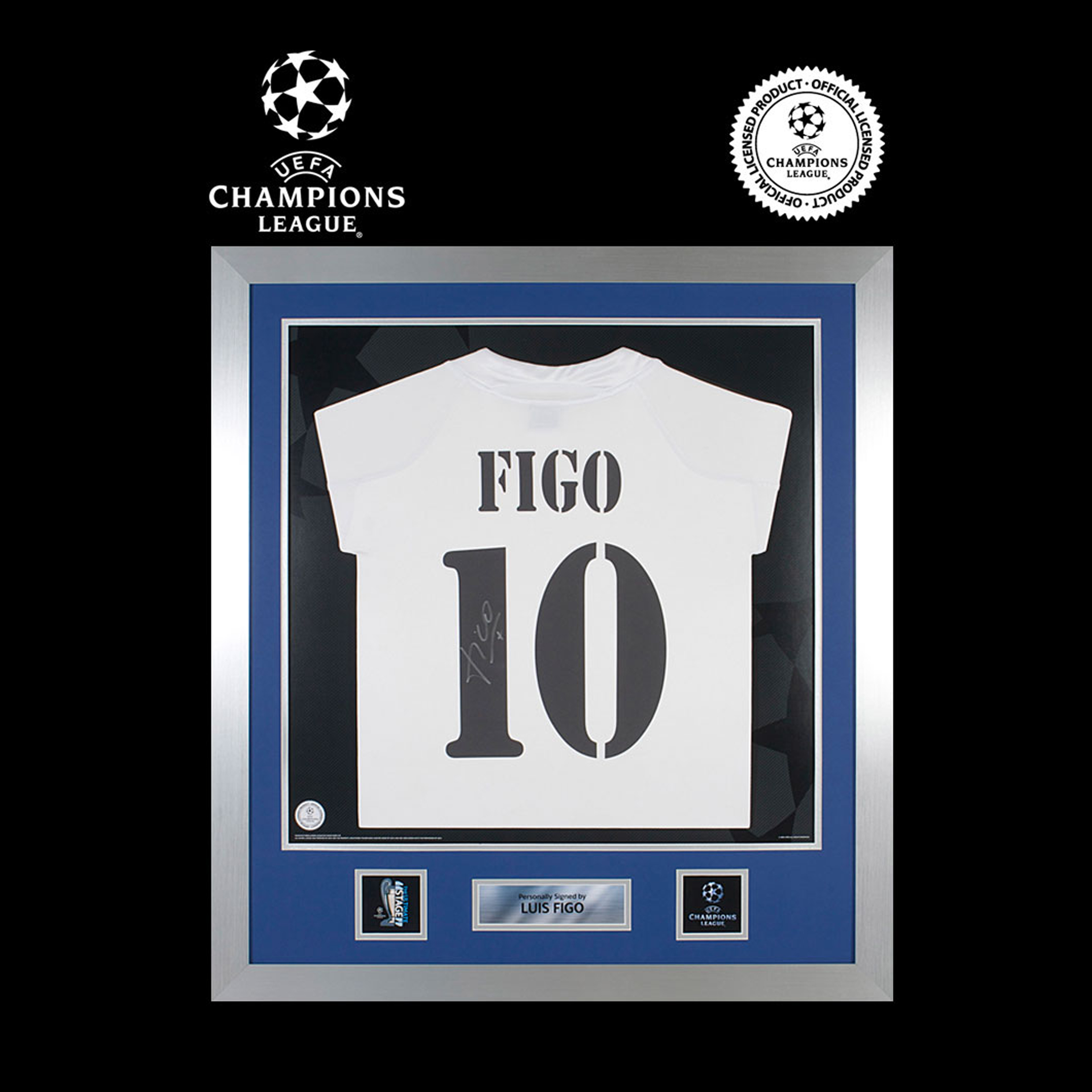 UEFA Champions League Luis Figo Signed and Framed 2004-05 Real Madrid Home Shirt