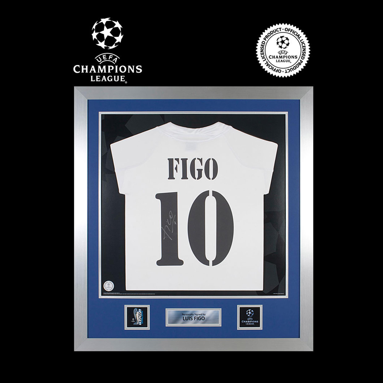 UEFA Champions League-Camiseta de la primera equipación Real Madrid 2004/05 enmarcada y firmada por  Luis Figo