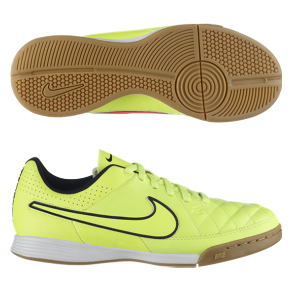Nike Tiempo Genio Leather Indoor Trainers - Kids Yellow