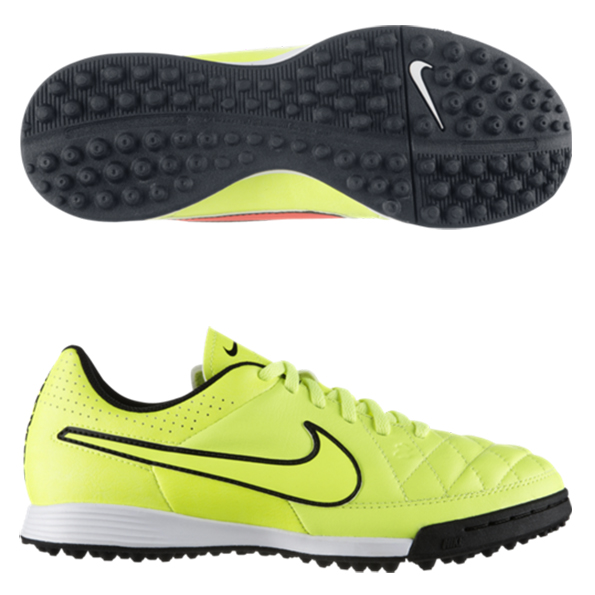 Nike Tiempo Genio Leather Astroturf Trainers - Kids Yellow