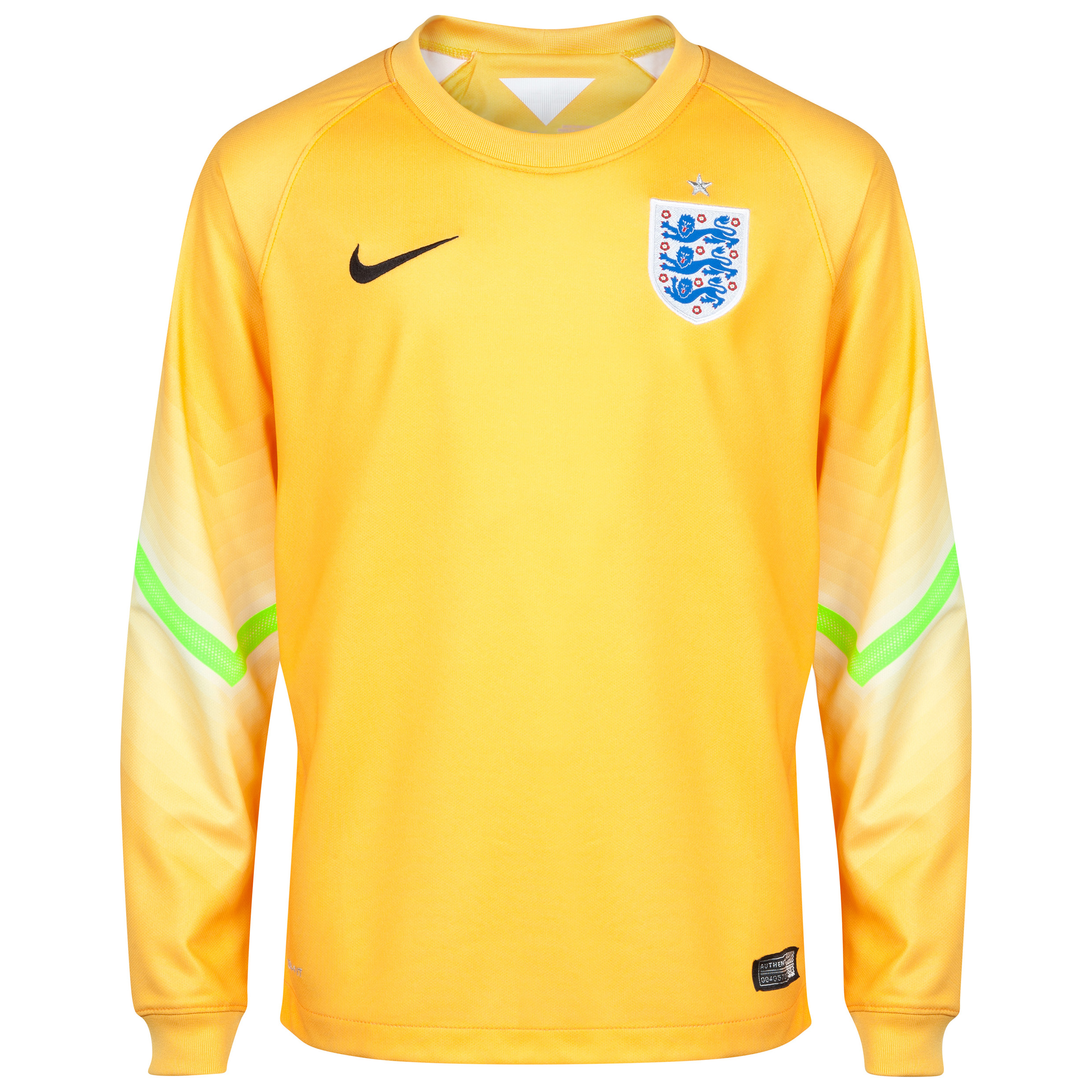 England Home Goalkeeper Shirt 2014/15 - Kids Yellow