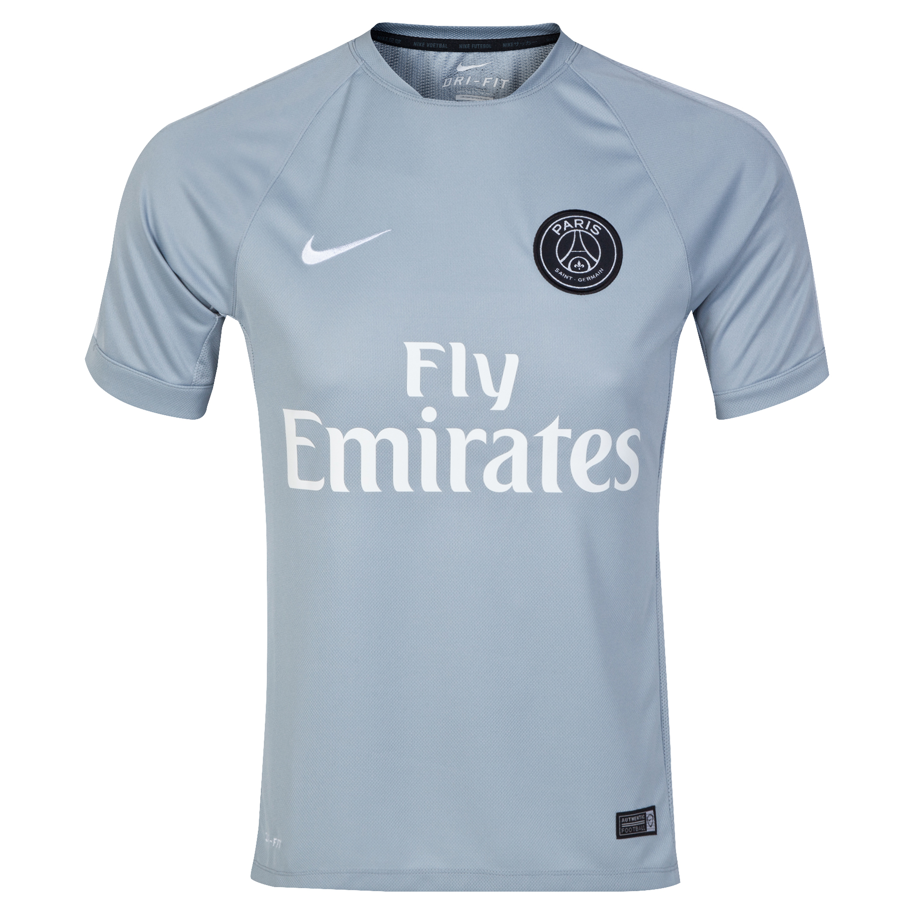 Paris Saint-Germain Squad Short Sleeve Training Top Lt Grey