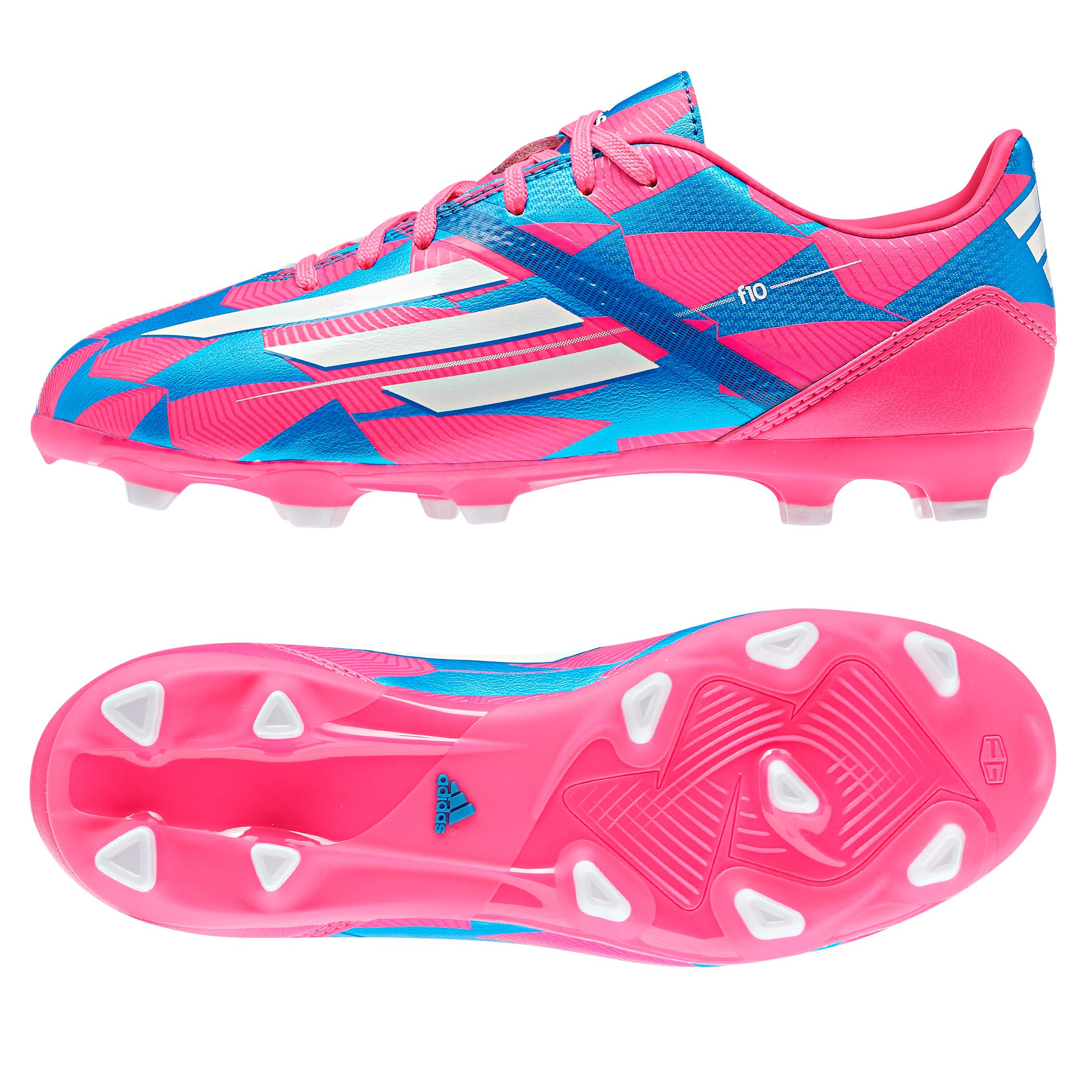 Adidas F10 Firm Ground Football Boots - Kids Pink