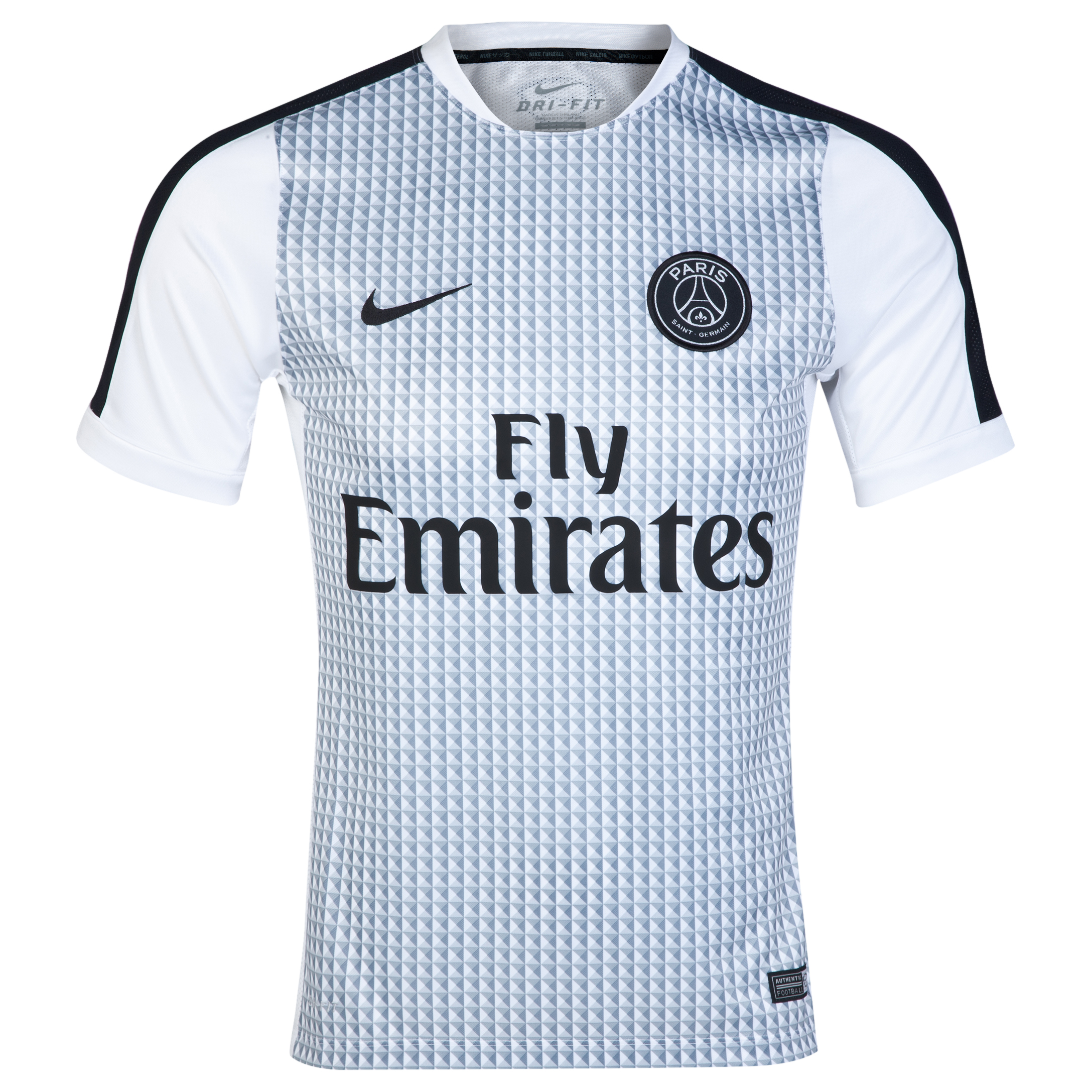 Paris Saint-Germain Squad Short Sleeve Pre Match Top White