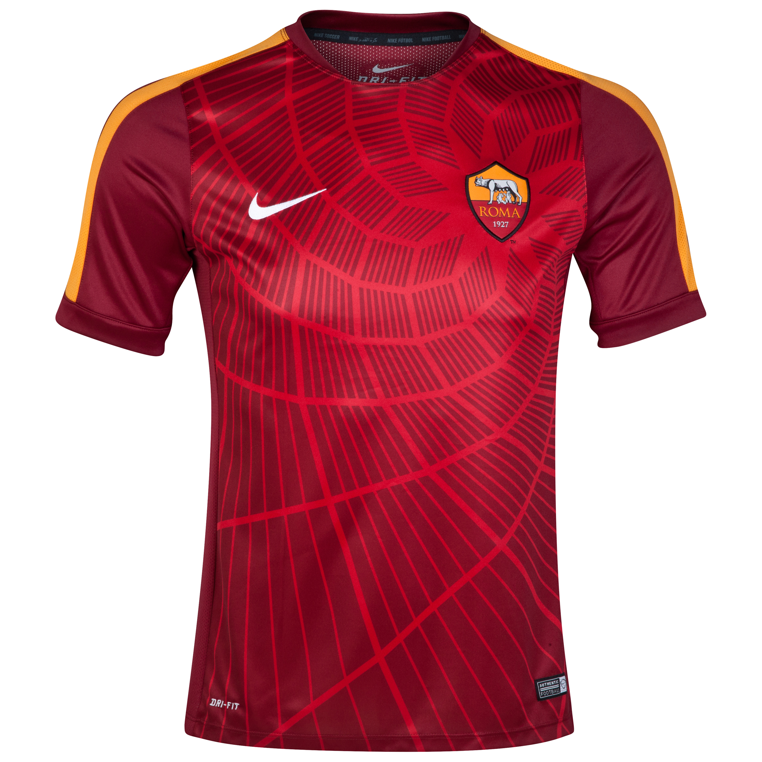 AS Roma Squad Short Sleeve Pre Match Top Red