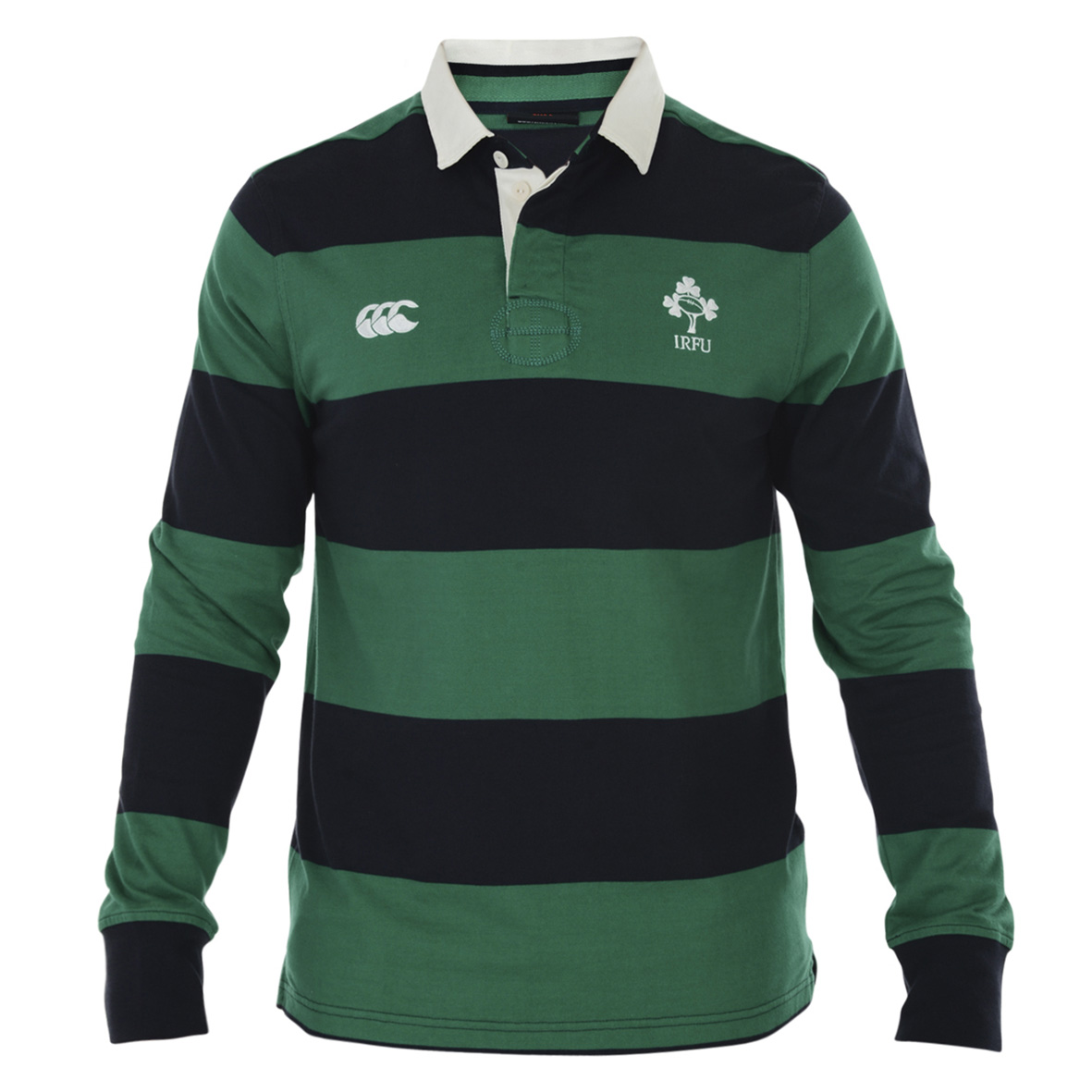 Ireland Striped Long Sleeve Rugby Jersey Green