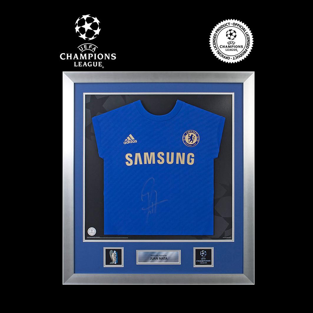 UEFA Champions League Juan Mata Signed and Framed Chelsea 2011-12 Shirt