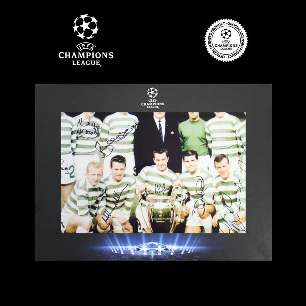UEFA Champions League Lisbon Lions Signed Celtic Photo in Deluxe Packaging
