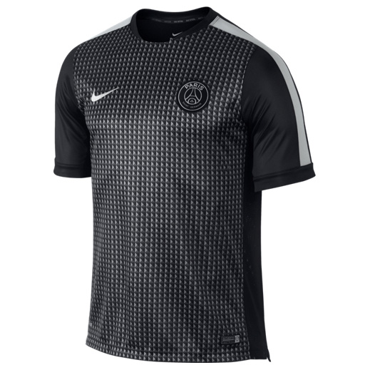 Paris Saint-Germain Squad Short Sleeve Pre Match Top Black