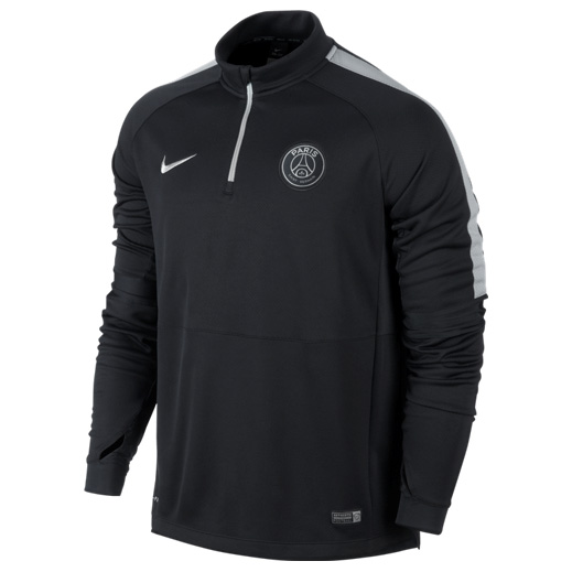 Paris Saint-Germain Squad Long Sleeve Midlayer Top Black