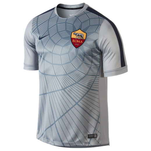 AS Roma Squad Short Sleeve Pre Match Top Grey