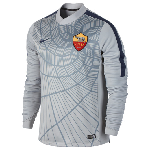 AS Roma Squad Long Sleeve Thermal Pre Match Top Grey