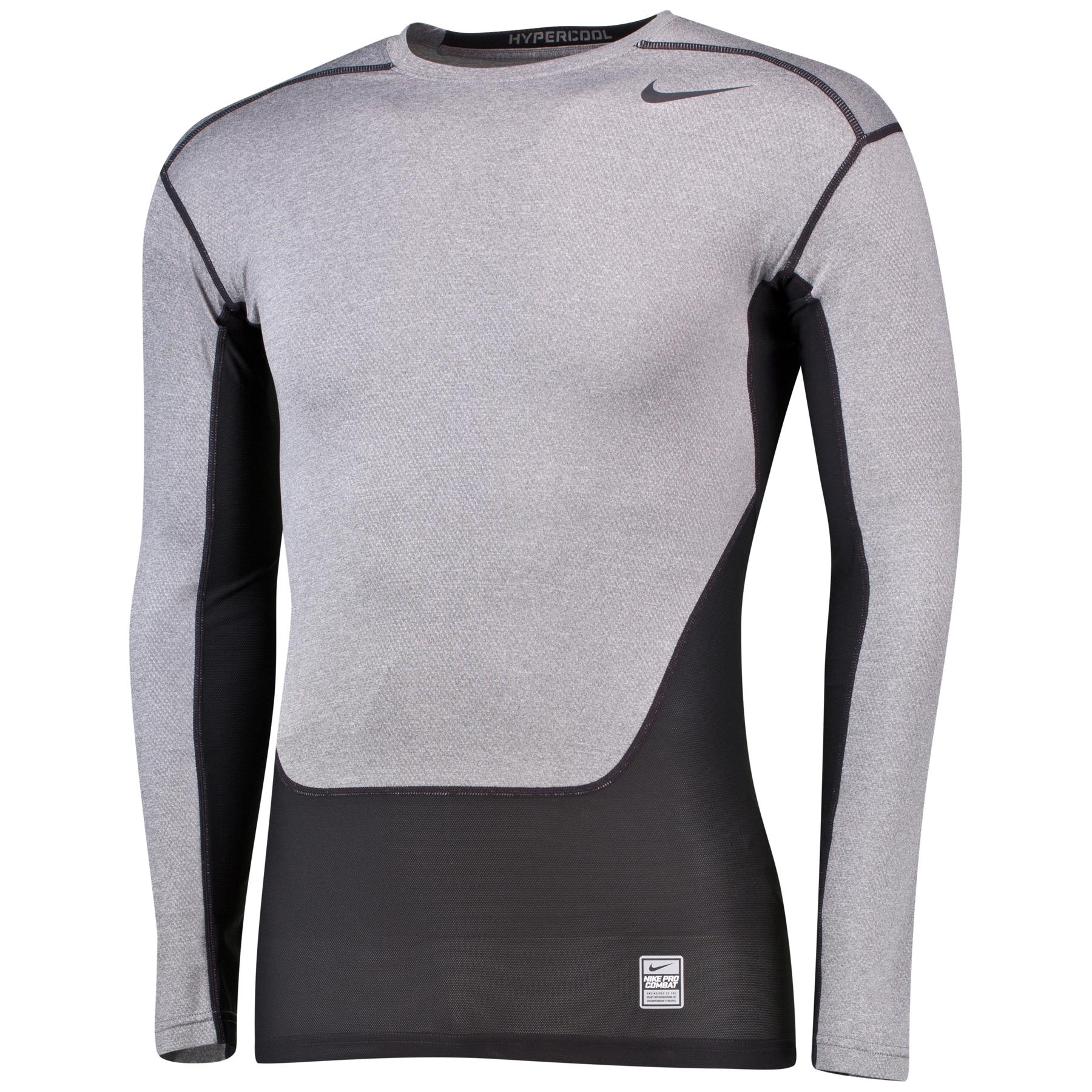 Nike Pro Combat Hypercool Compression Baselayer Top - Long Sleeve Grey