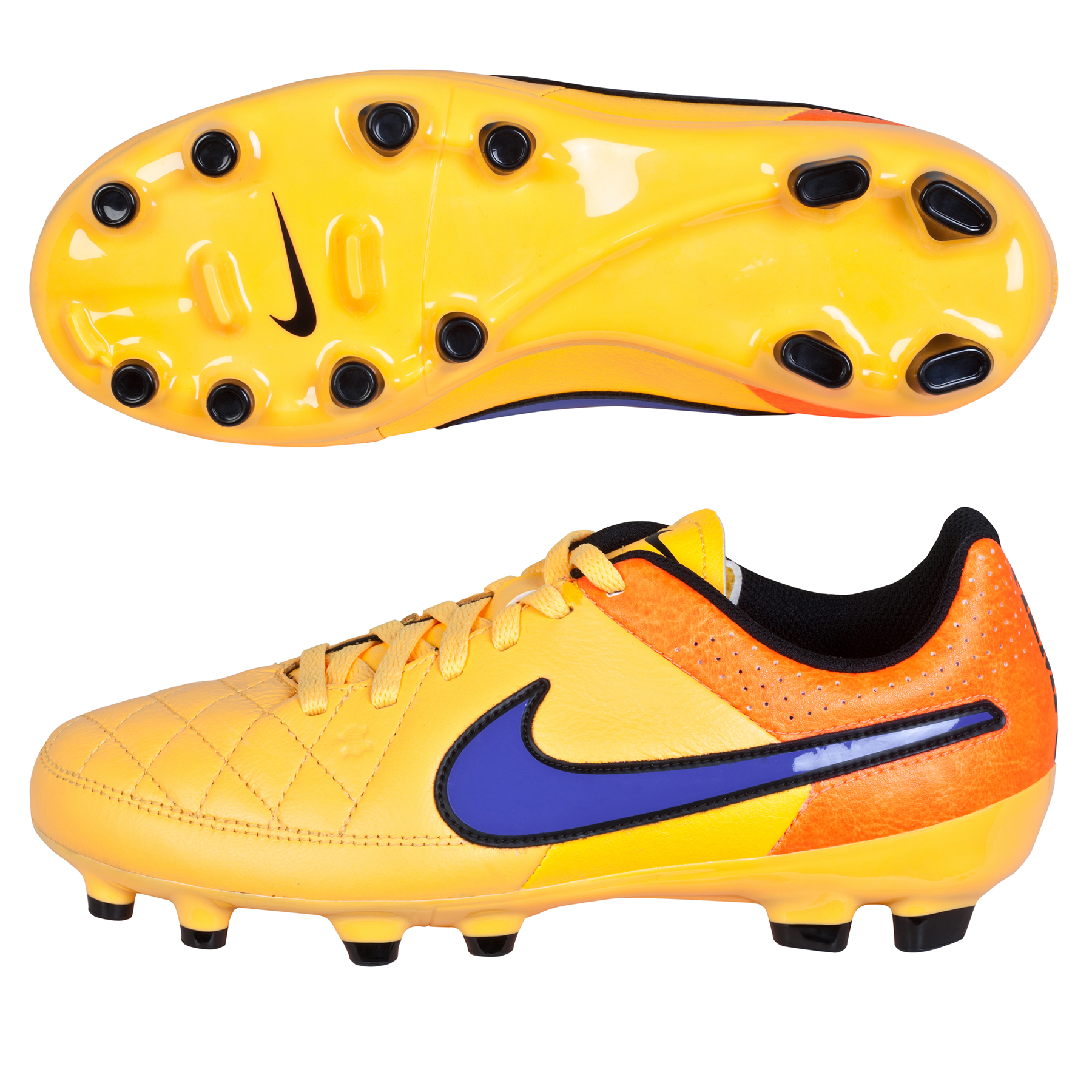 Nike Tiempo Genio Leather Firm Ground Football Boots  Kids Orange