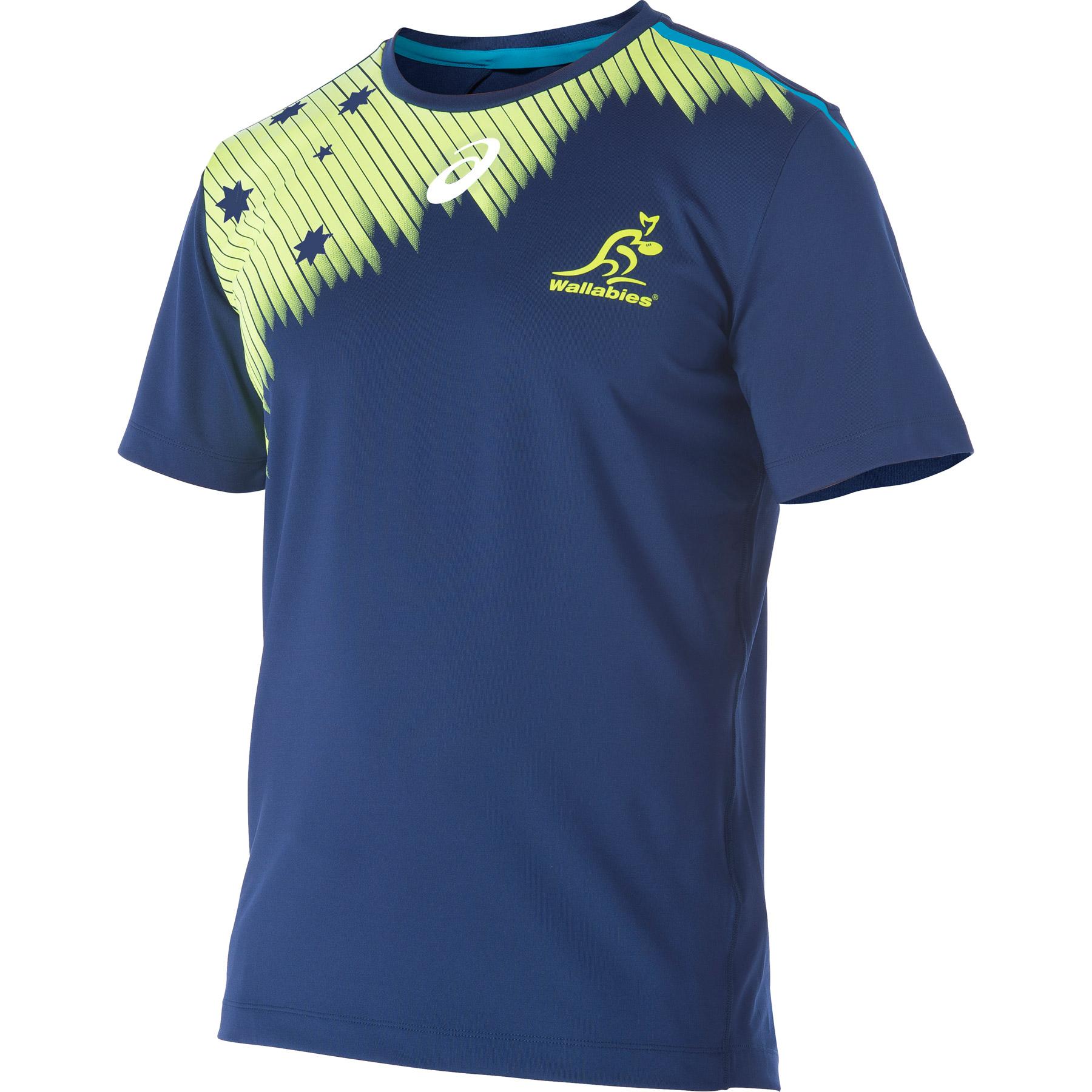 Australia Wallabies Rugby Short Sleeve Training TShirt Blue