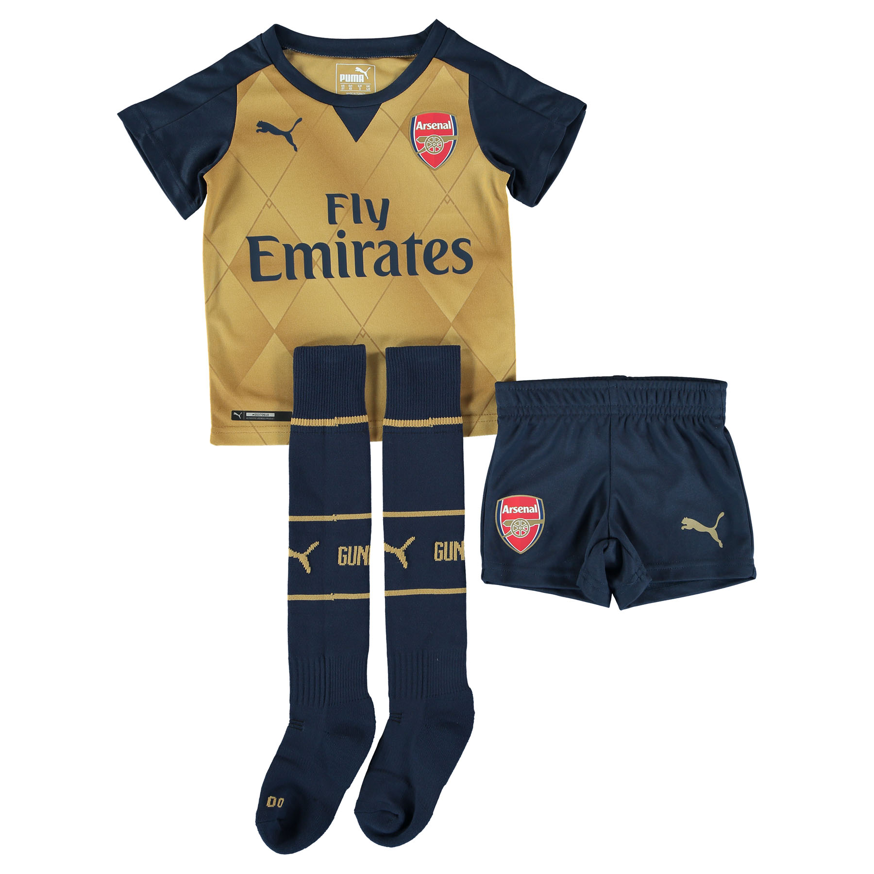 Arsenal Away Mini Kit 201516 Gold