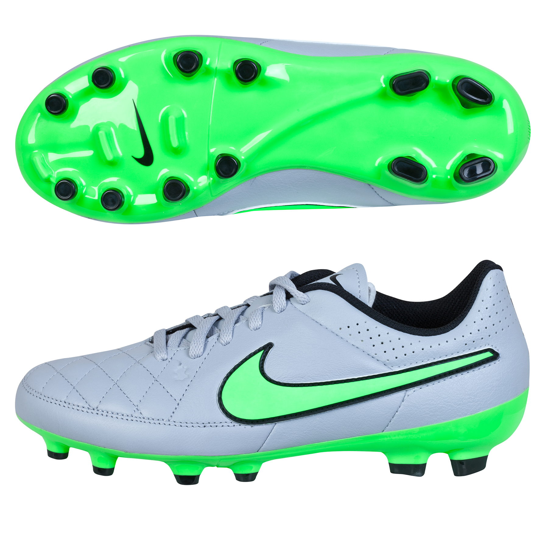 Nike Tiempo Genio Firm Ground Football Boots  Kids Lt Grey
