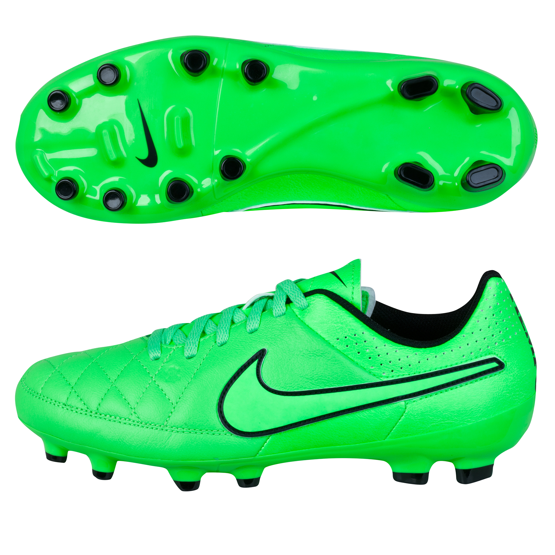 Nike Tiempo Genio Leather Firm Ground Football Boots  Kids Lt Green