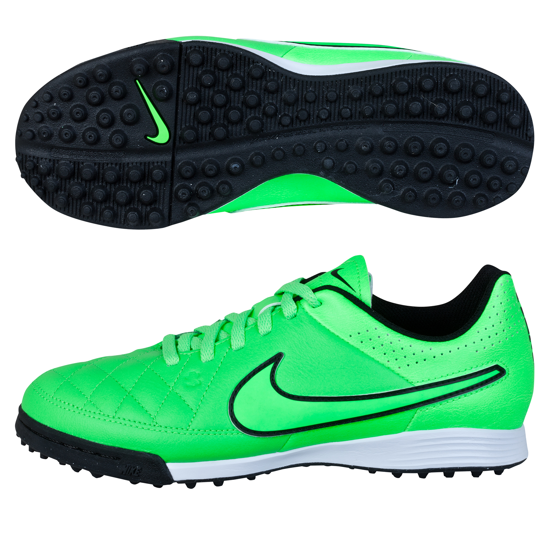 Nike Tiempo Genio Leather Astroturf Trainers  Kids Lt Green