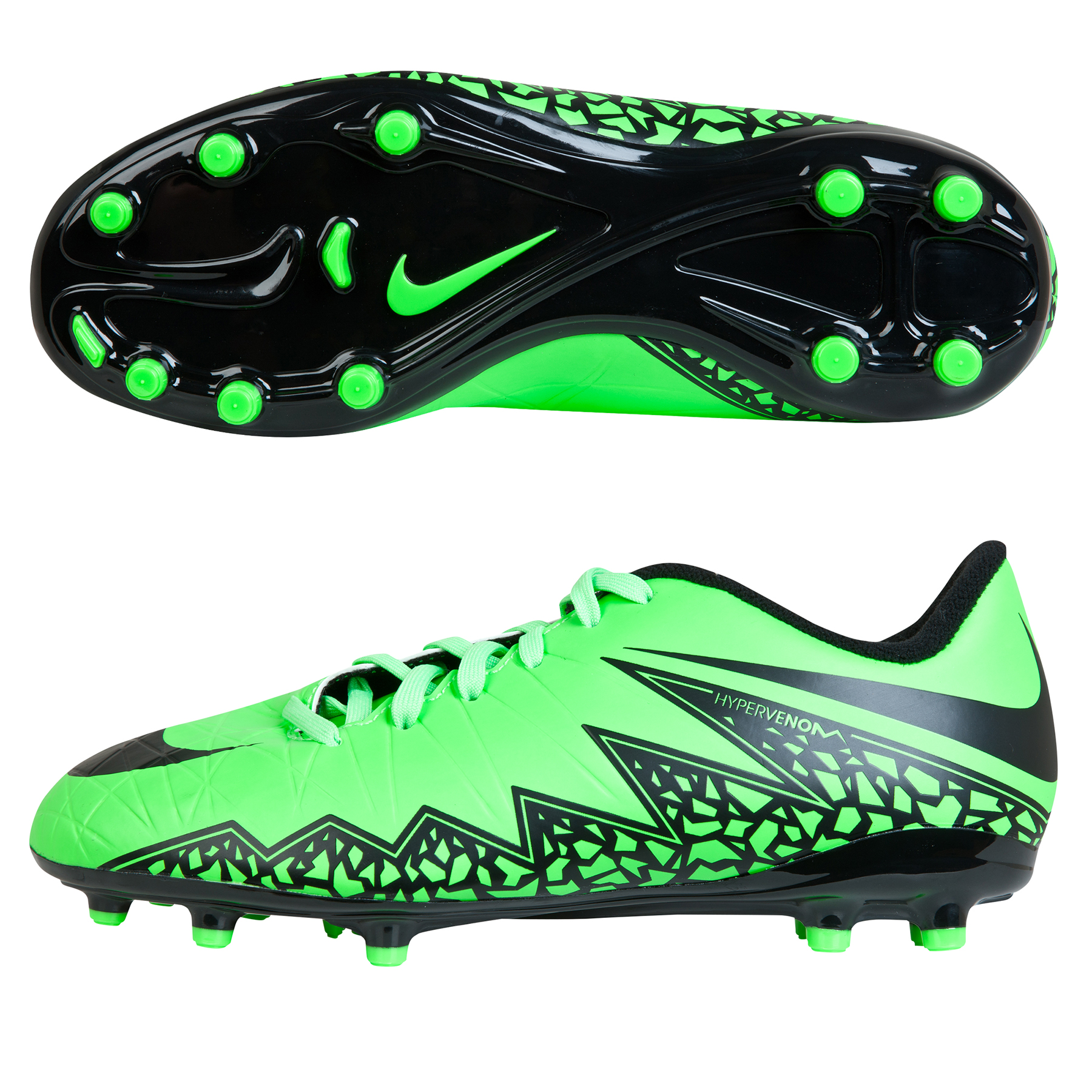 Nike Hypervenom Phelon II Firm Ground Football Boots  Kids Lt Green